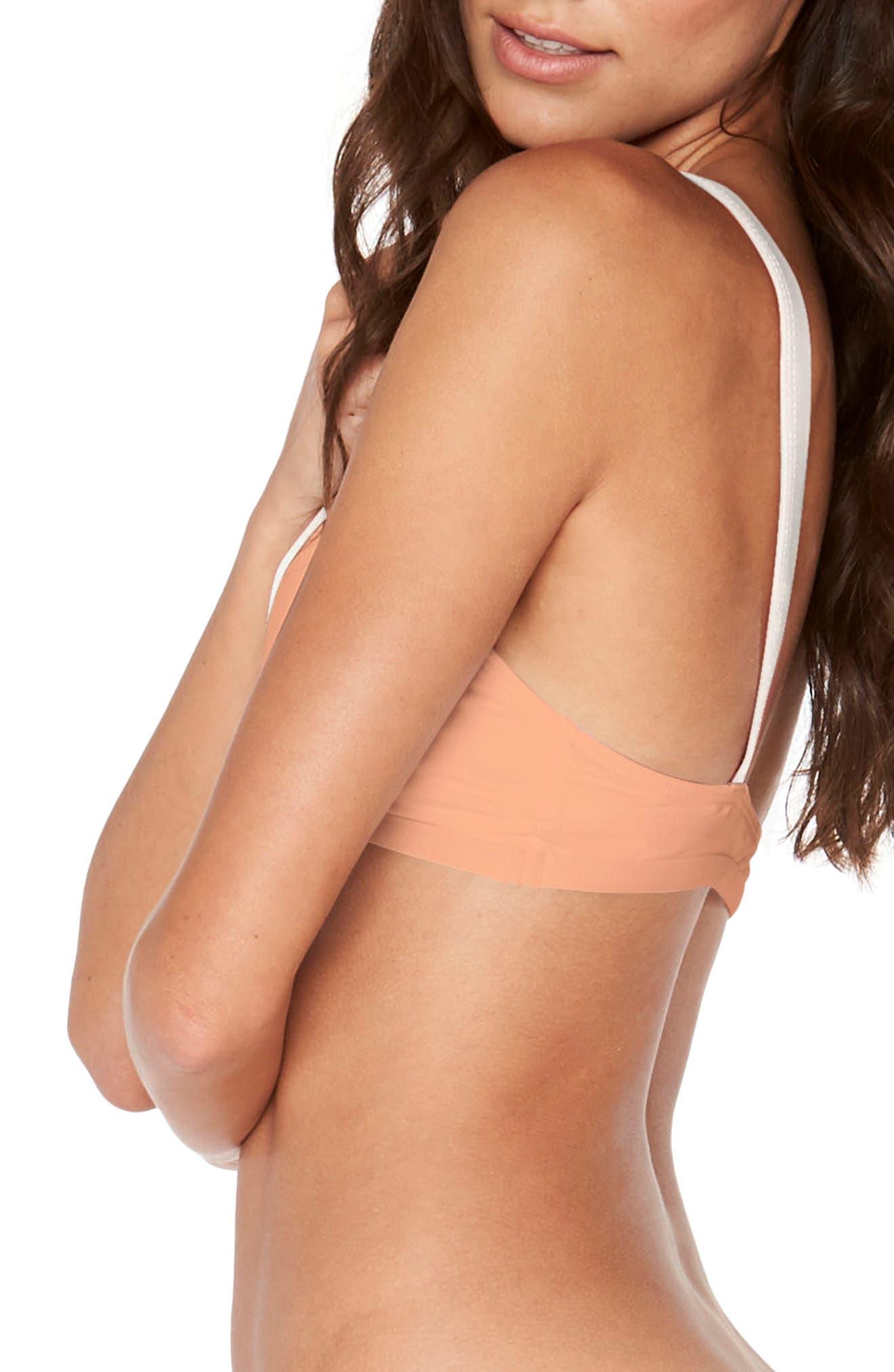 Farrah Bikini Top,                             Alternate thumbnail 3, color,                             Tropical Peach