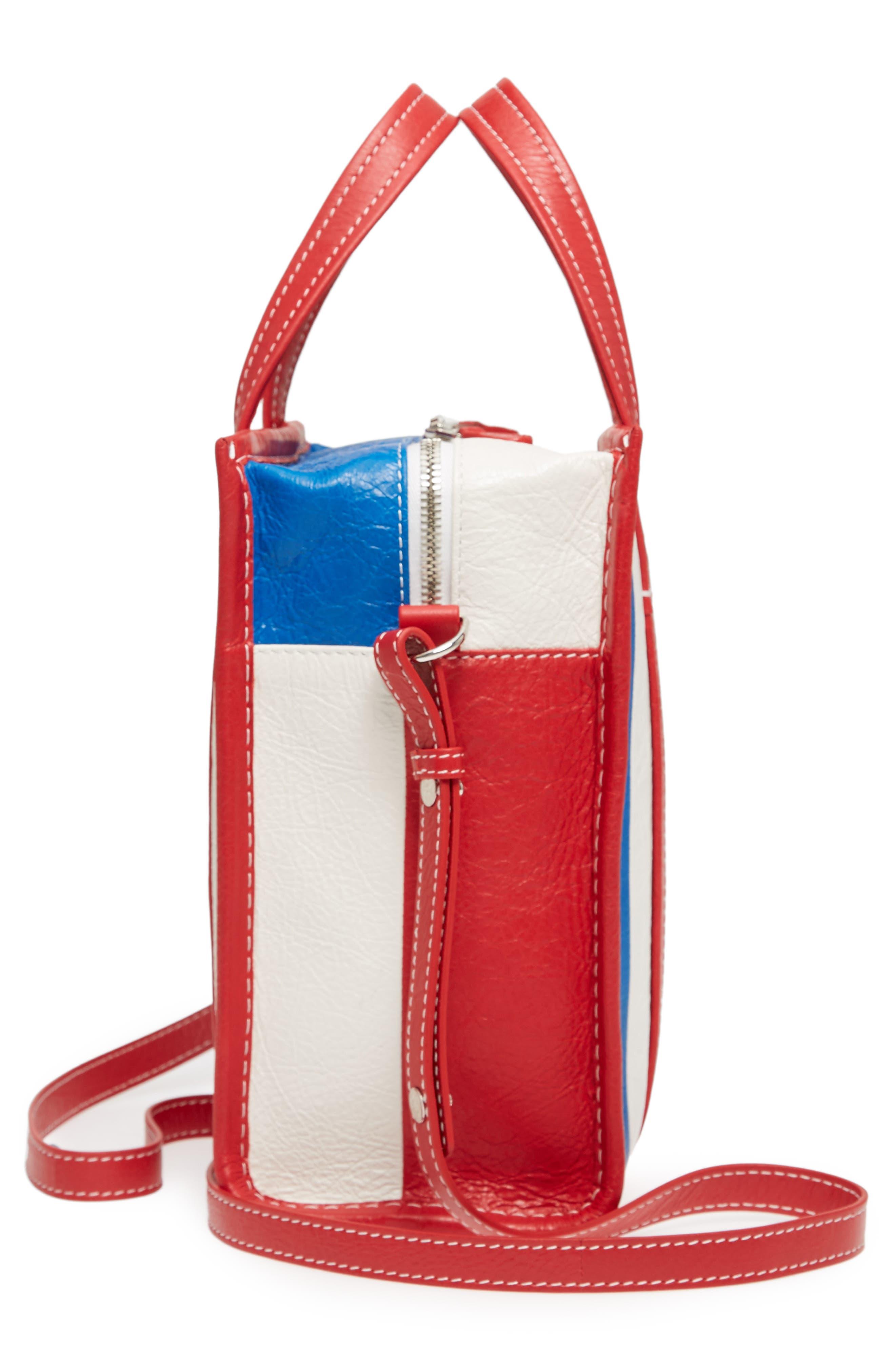 Extra Small Bazar Leather AJ Shopper,                             Alternate thumbnail 5, color,                             Blue/ Blanc/ Rouge