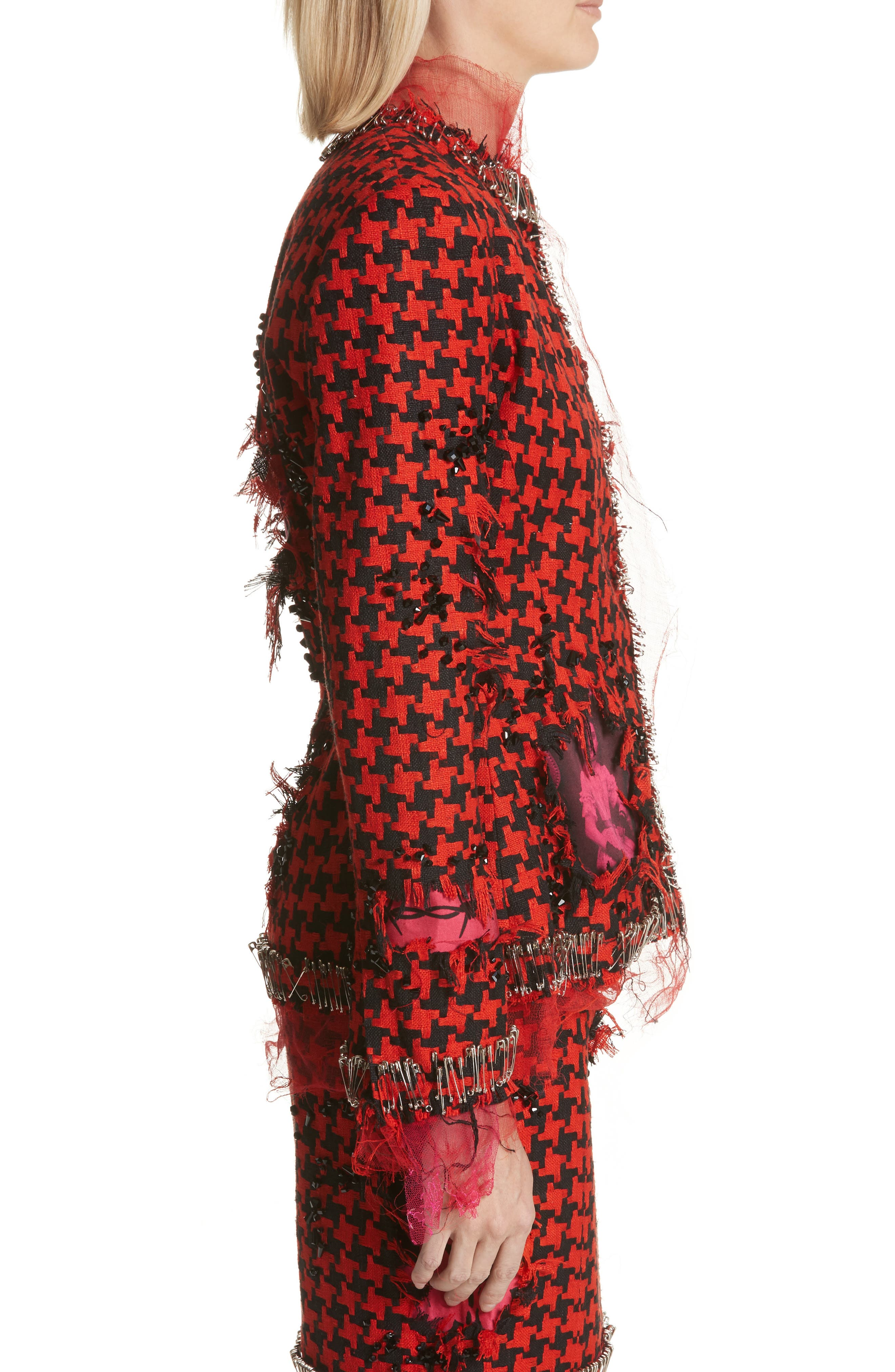 Prime Minister Houndstooth Wool Jacket,                             Alternate thumbnail 3, color,                             Red