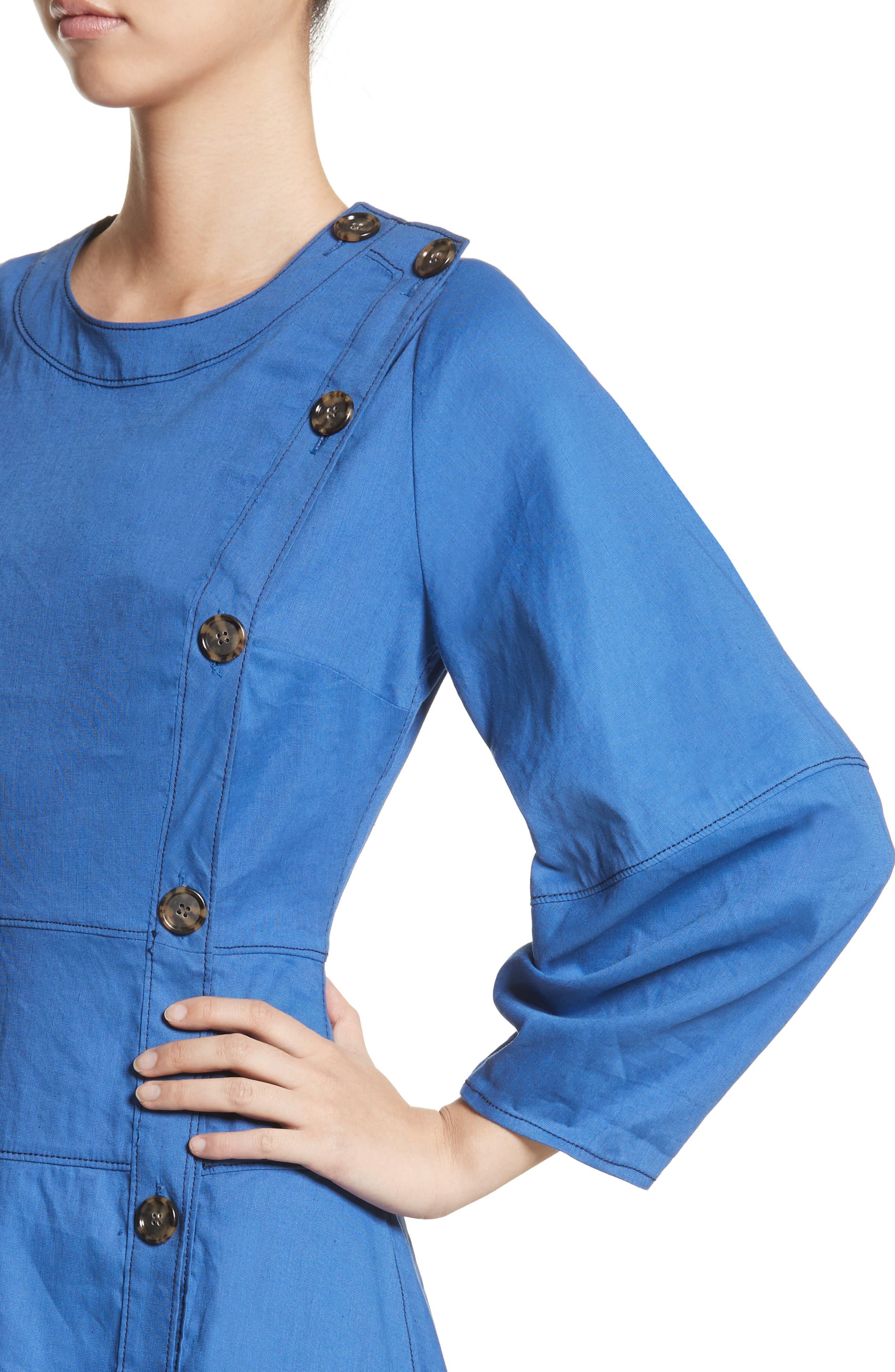 Michaela Linen Dress,                             Alternate thumbnail 4, color,                             Linen Blue
