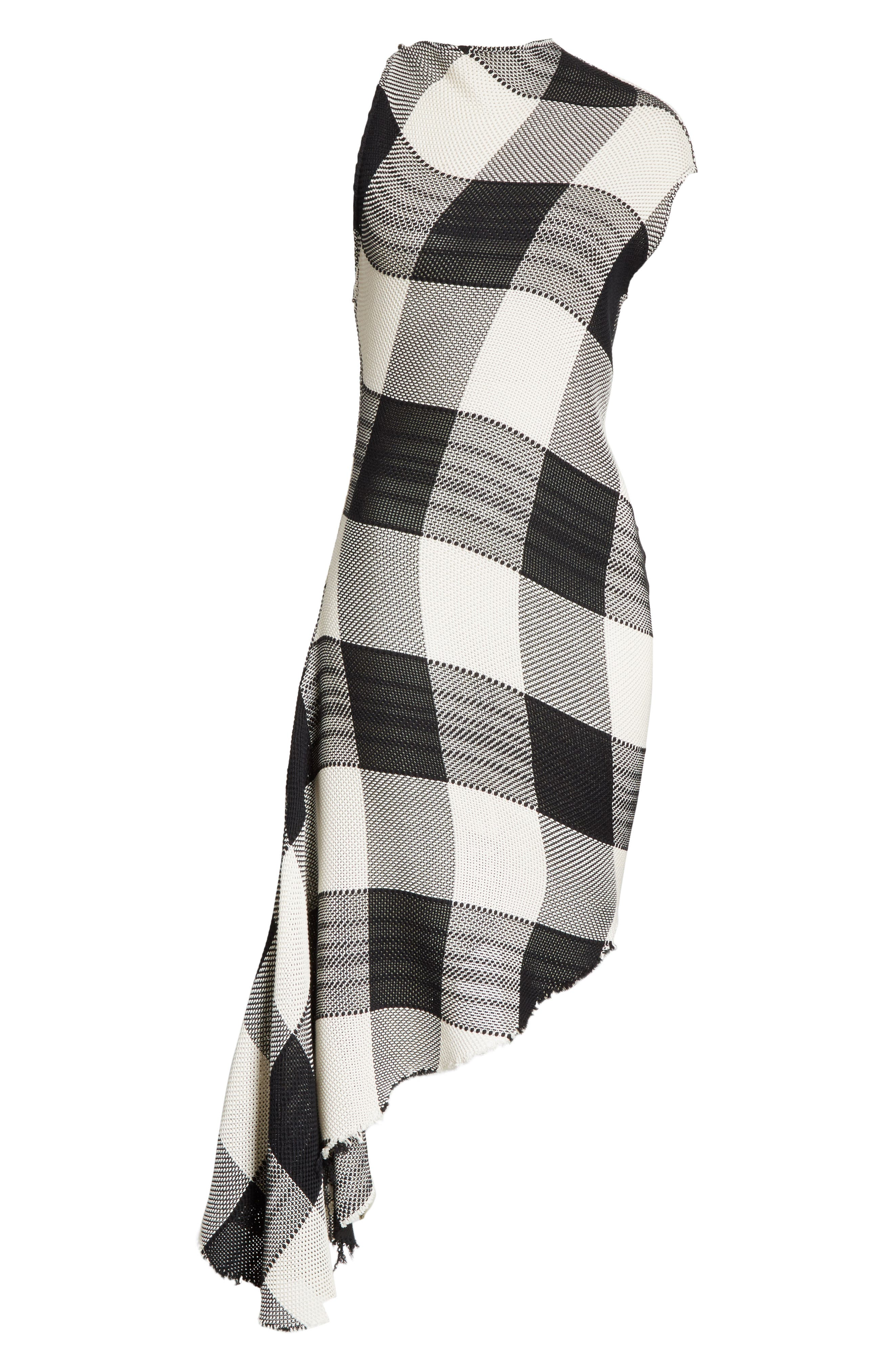 Marques'Almeida Asymmetrical Gingham Sheath Dress,                             Alternate thumbnail 7, color,                             Black/White