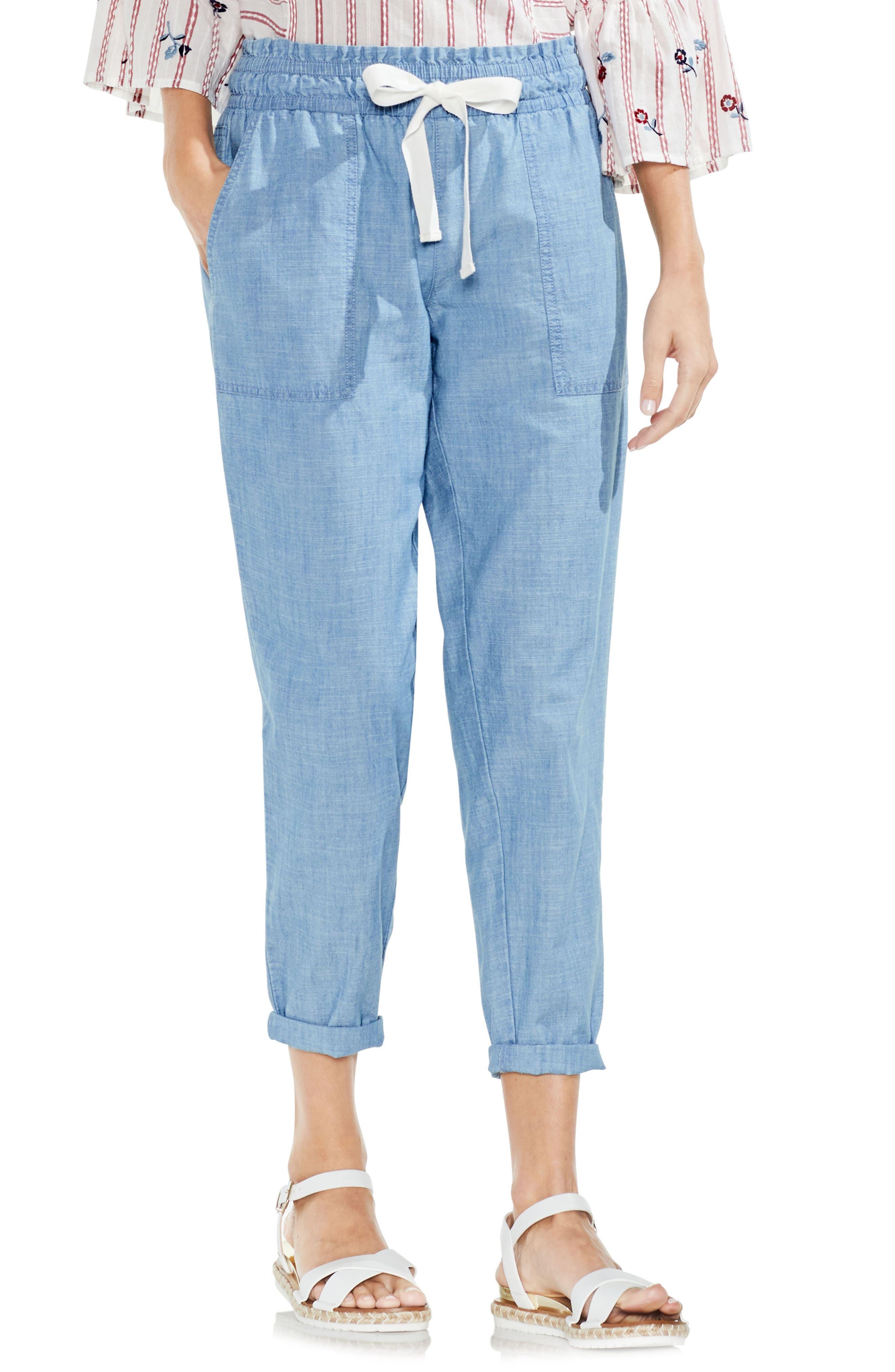 Drawstring Cotton Pants,                         Main,                         color, Ice Lagoon