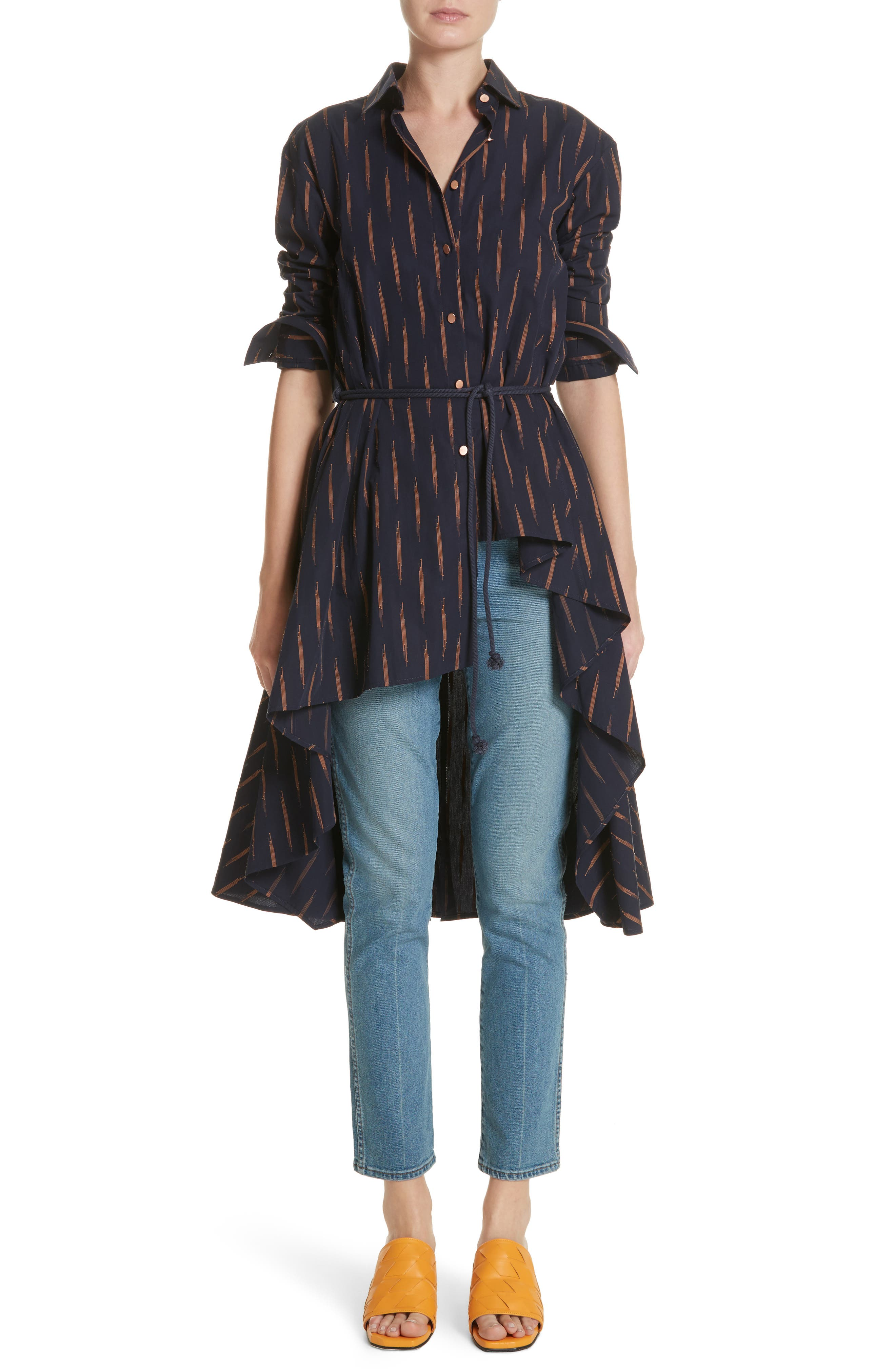 Sequel High/Low Shirt,                         Main,                         color, Navy Fireworks
