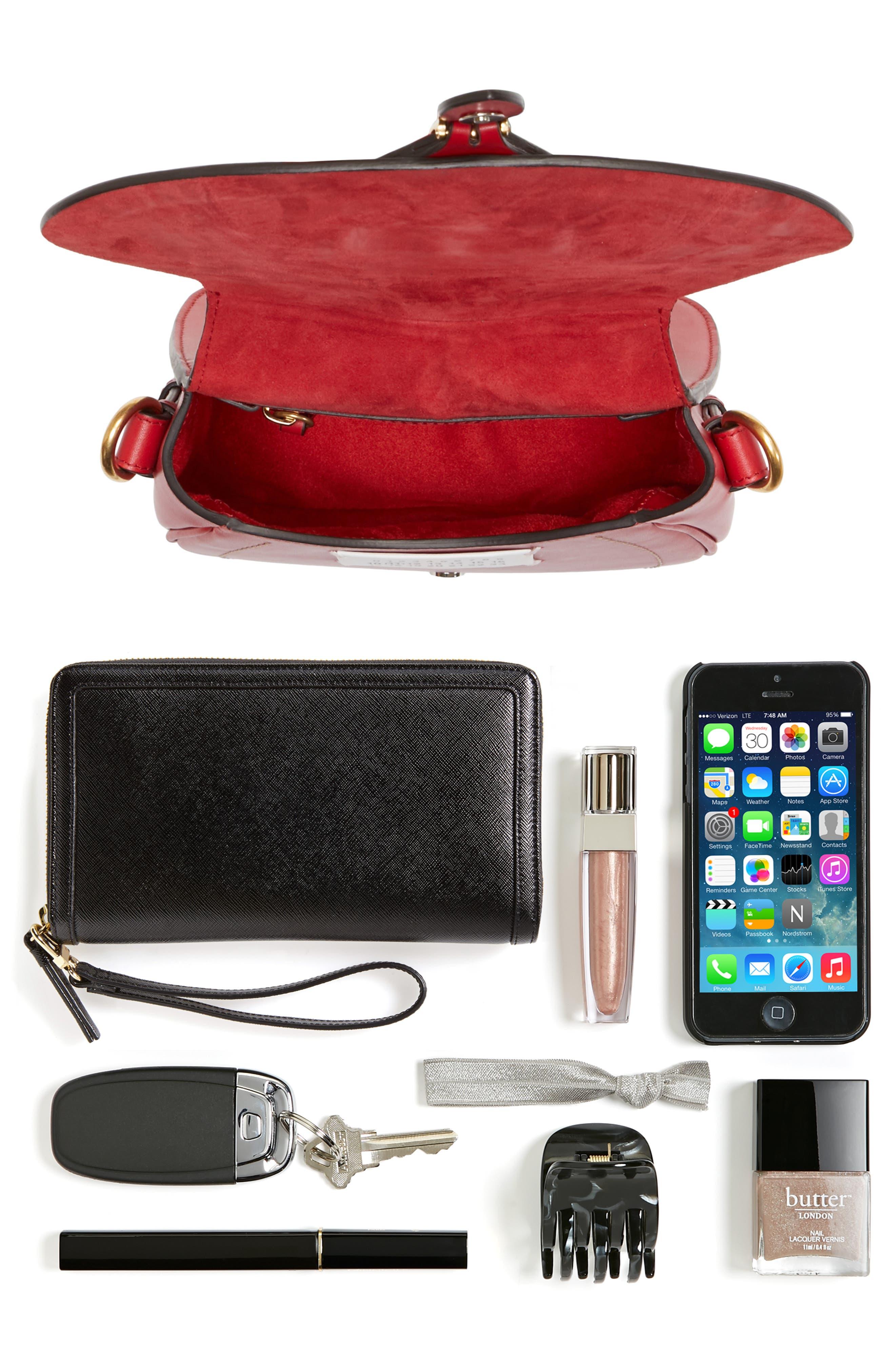 Small Bag-Slide Leather Shoulder Bag,                             Alternate thumbnail 7, color,