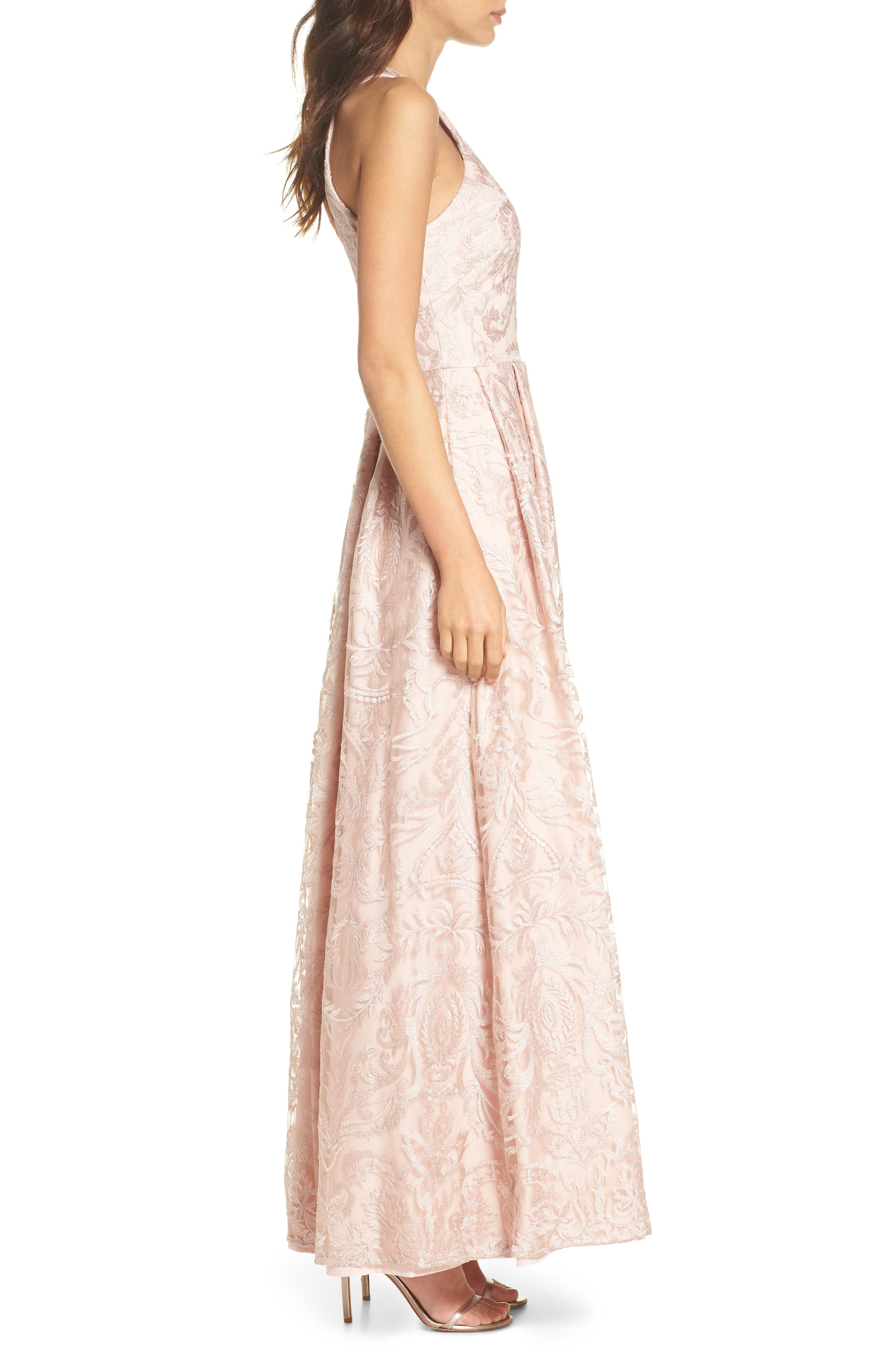 Keyhole Neck Embroidered Ballgown,                             Alternate thumbnail 3, color,                             Blush / Nude