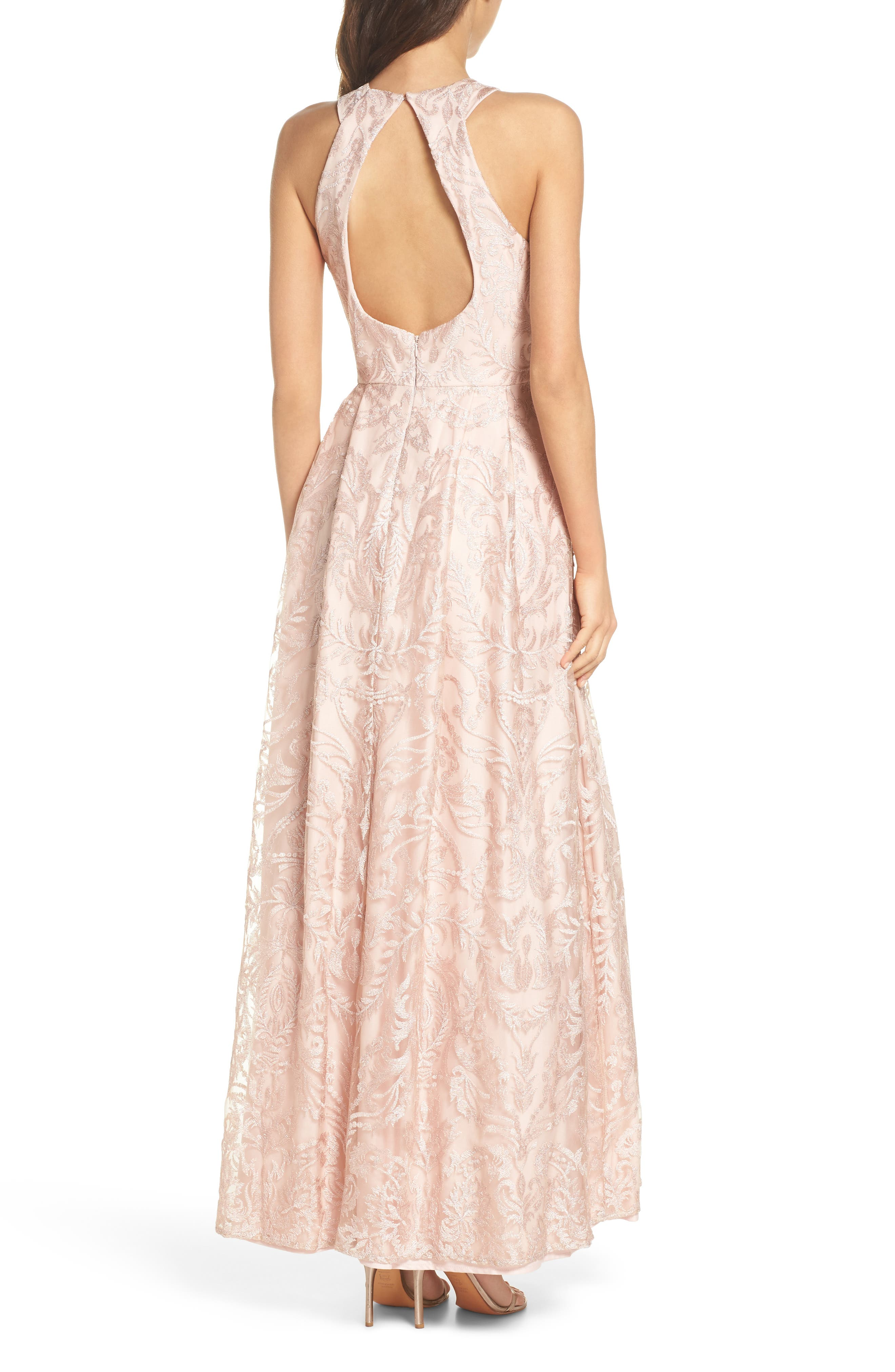 Keyhole Neck Embroidered Ballgown,                             Alternate thumbnail 2, color,                             Blush / Nude