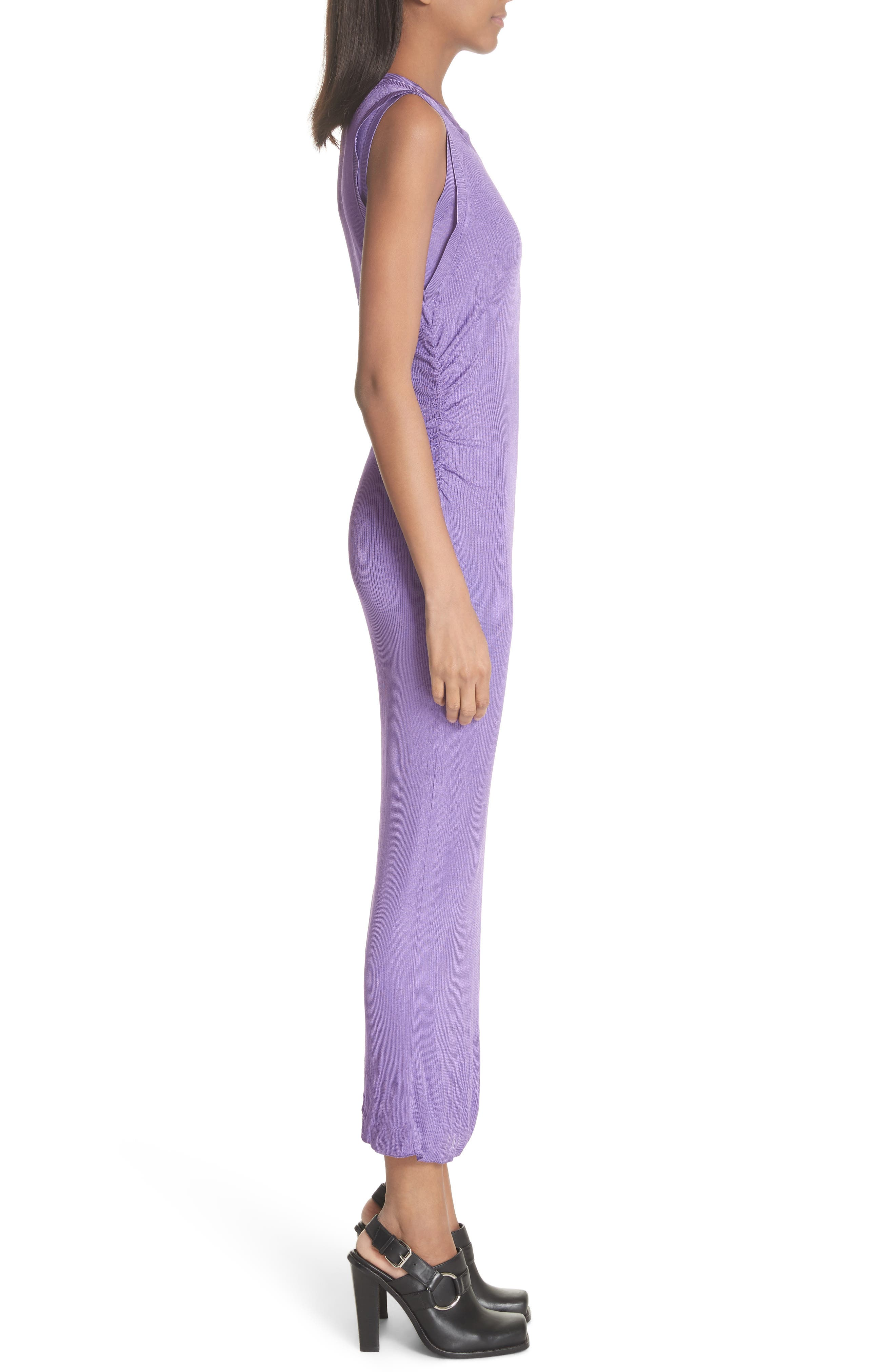 Ruched Side Layered Rib Knit Dress,                             Alternate thumbnail 3, color,                             Lilas