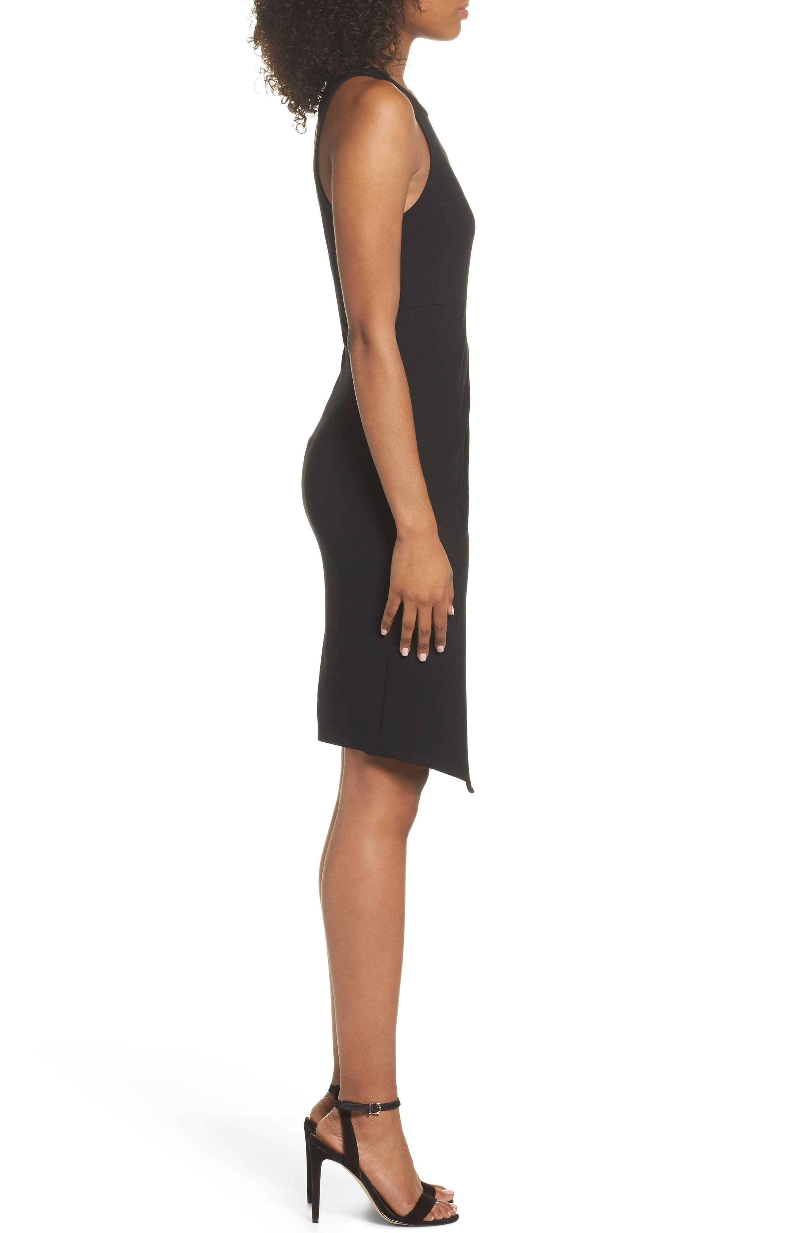 Asymmetric Hem Sheath Dress,                             Alternate thumbnail 3, color,                             Black