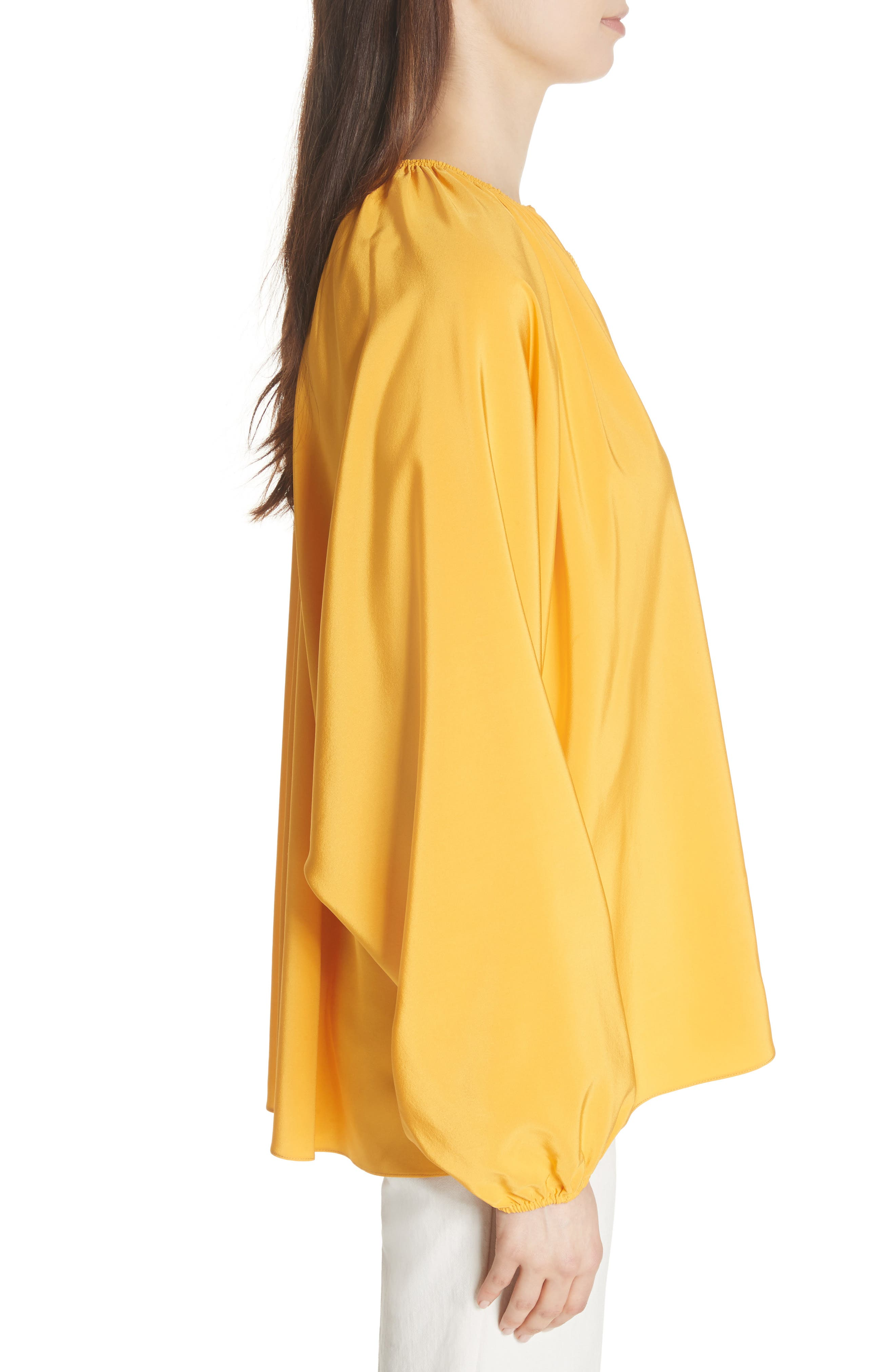 Chance Tie Neck Silk Top,                             Alternate thumbnail 3, color,                             Saffron