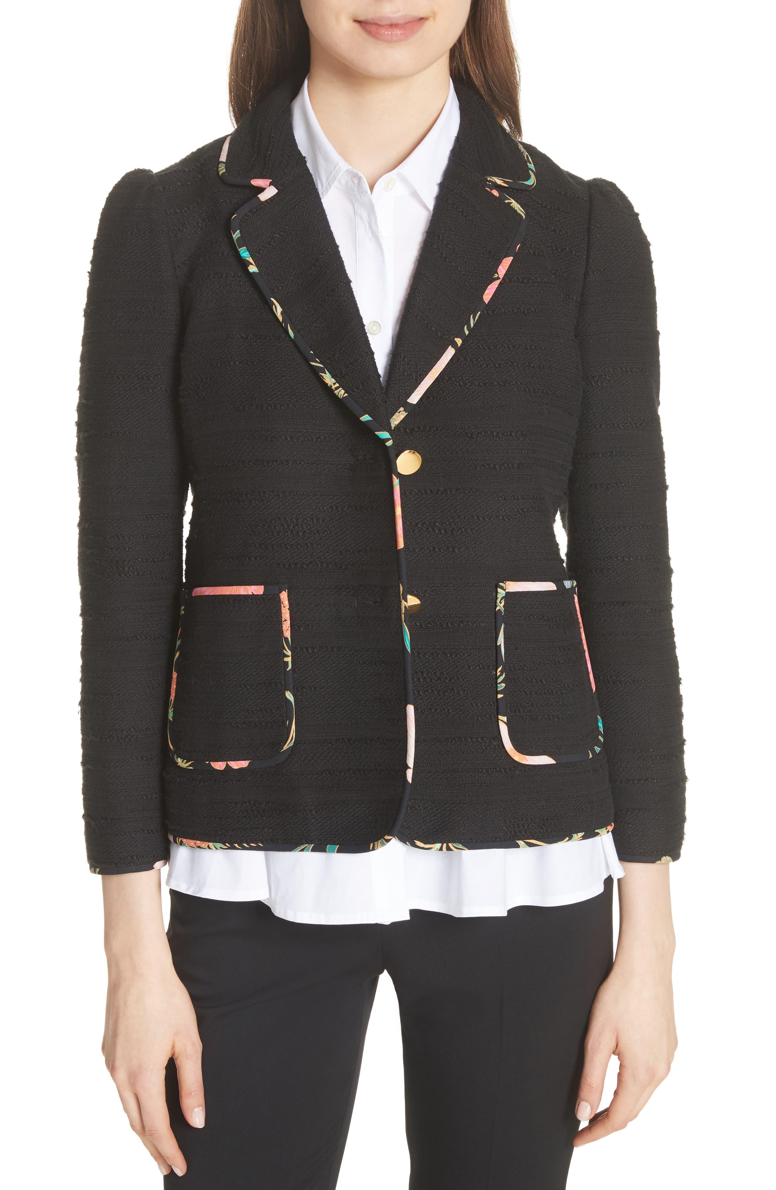 blossom trim tweed jacket,                         Main,                         color, Black