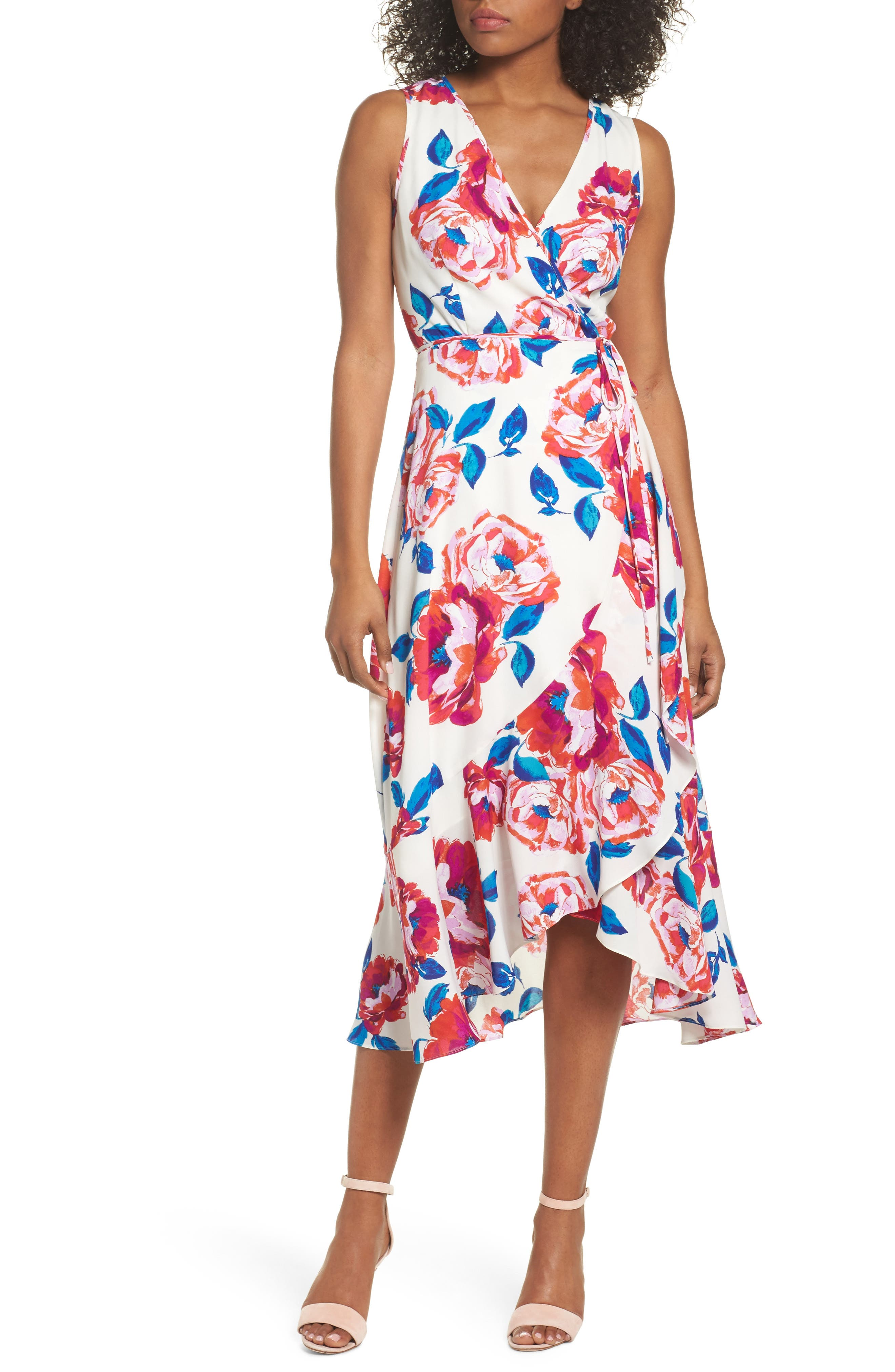 Charles Henry Floral Print Sleeveless Wrap Dress (Regular & Petite)