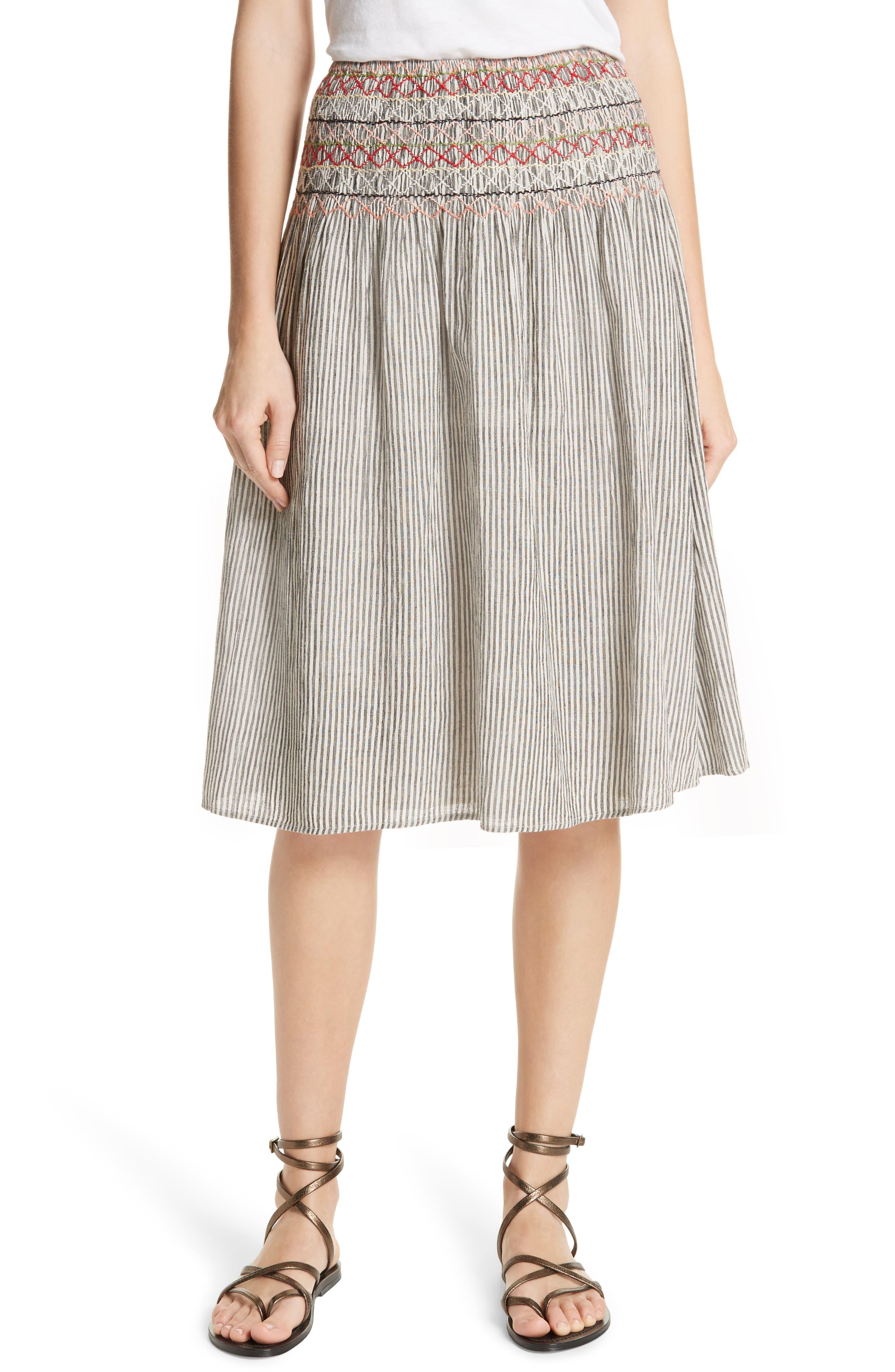 THE GREAT. The Vista Cotton & Linen Skirt