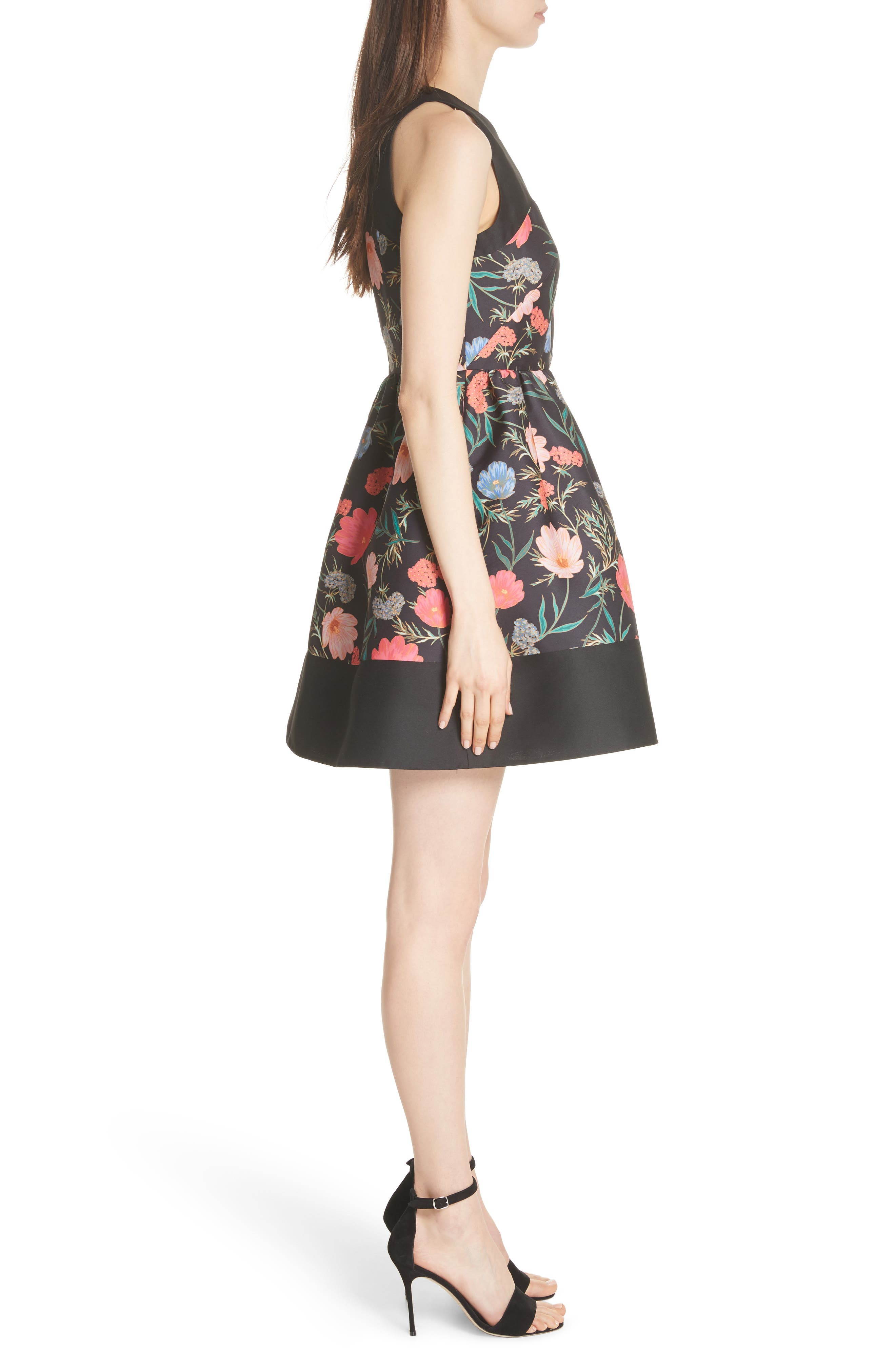 blossom mikado minidress,                             Alternate thumbnail 3, color,                             Black