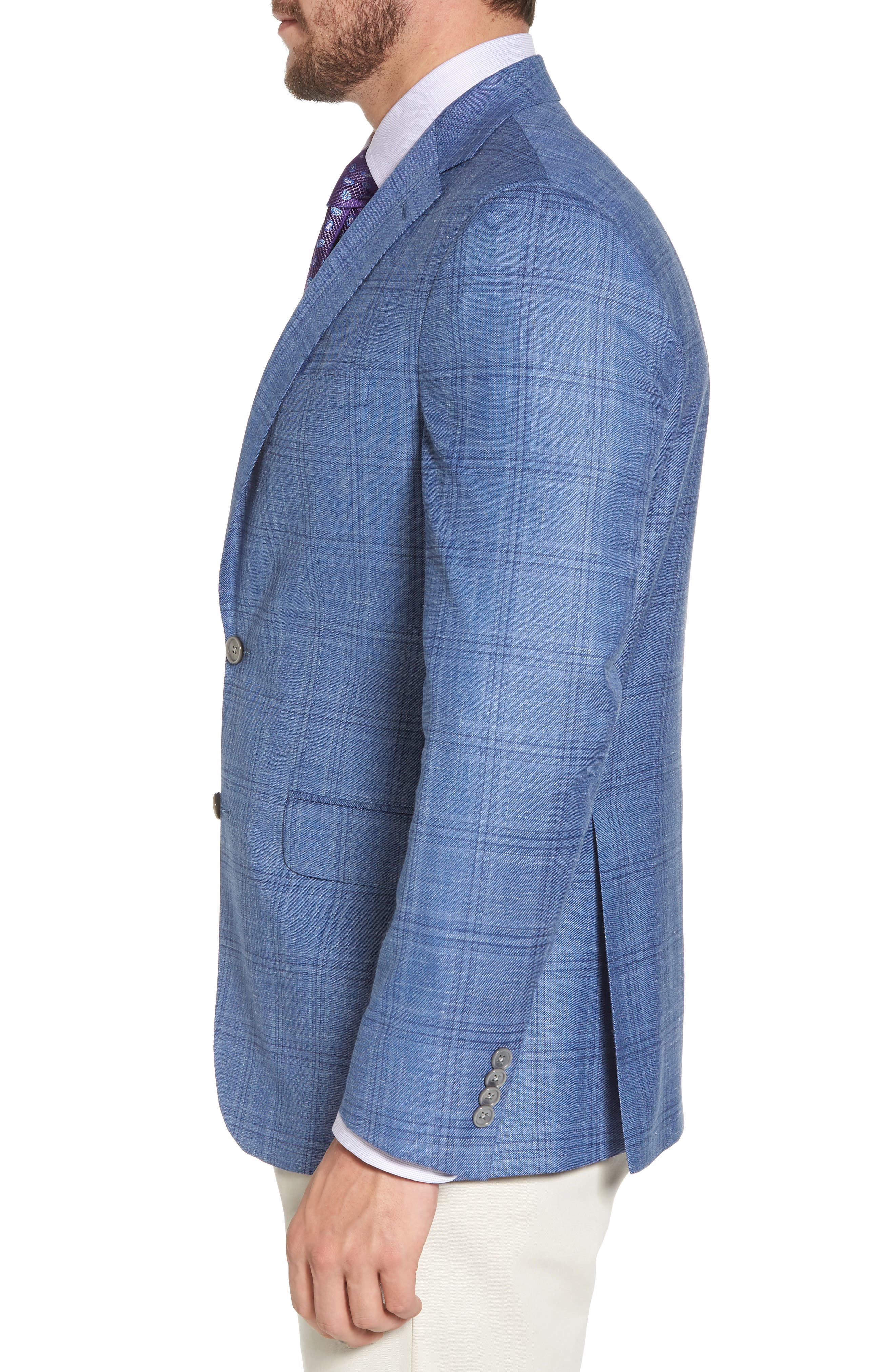 Arnold Classic Fit Plaid Wool Blend Sport Coat,                             Alternate thumbnail 3, color,                             Blue