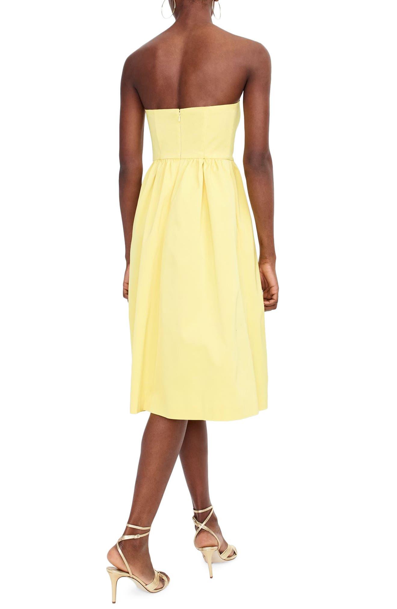 J.Crew Strapless Fit & Flare Dress,                             Alternate thumbnail 3, color,                             Bright Lemon