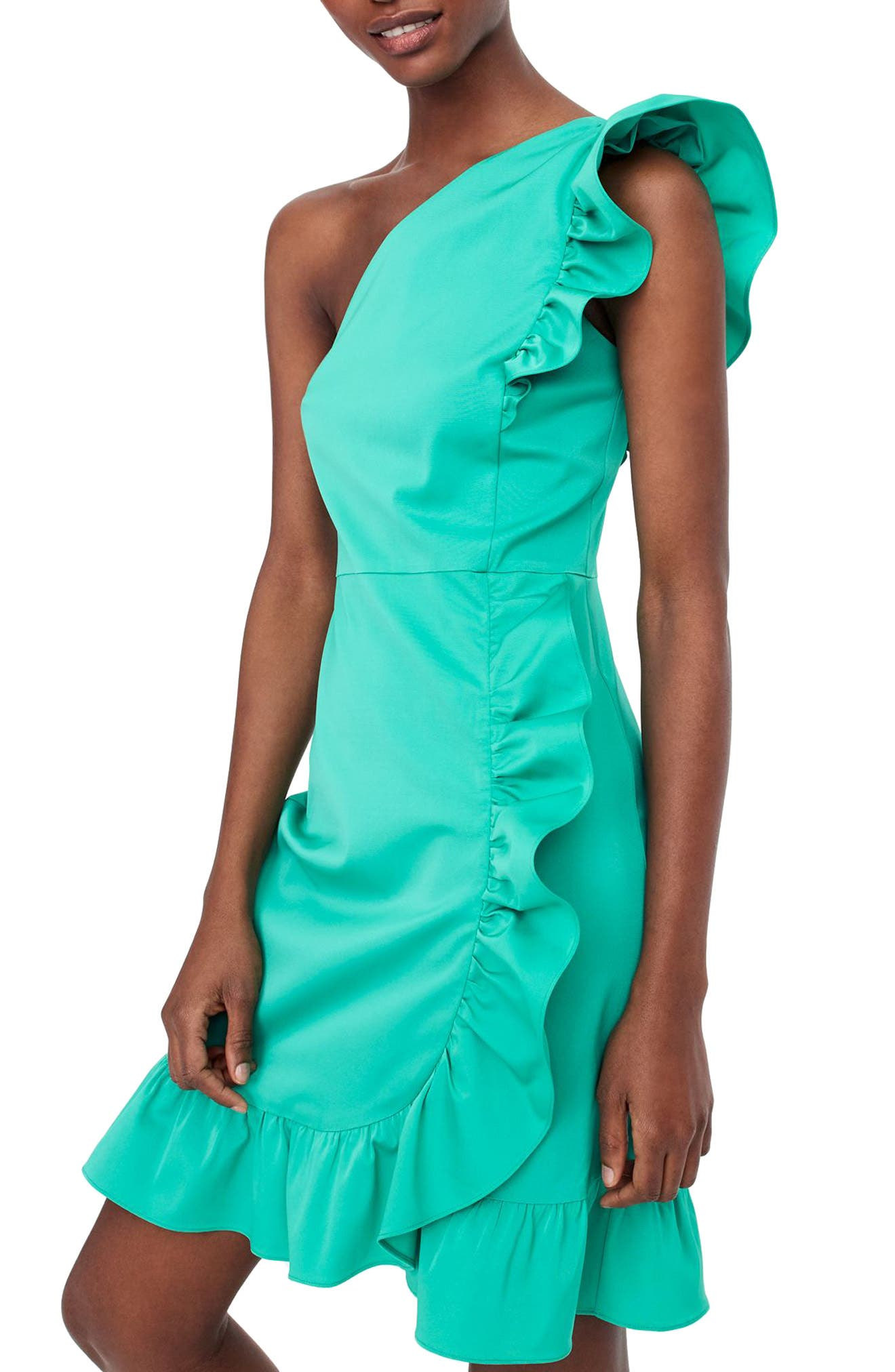 Yass One-Shoulder Ruffle Dress,                         Main,                         color, Bright Kelly