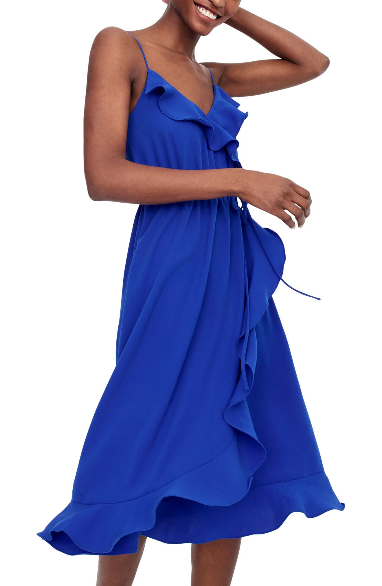 Faux Wrap Ruffle Dress,                             Main thumbnail 1, color,                             Bright Ocean