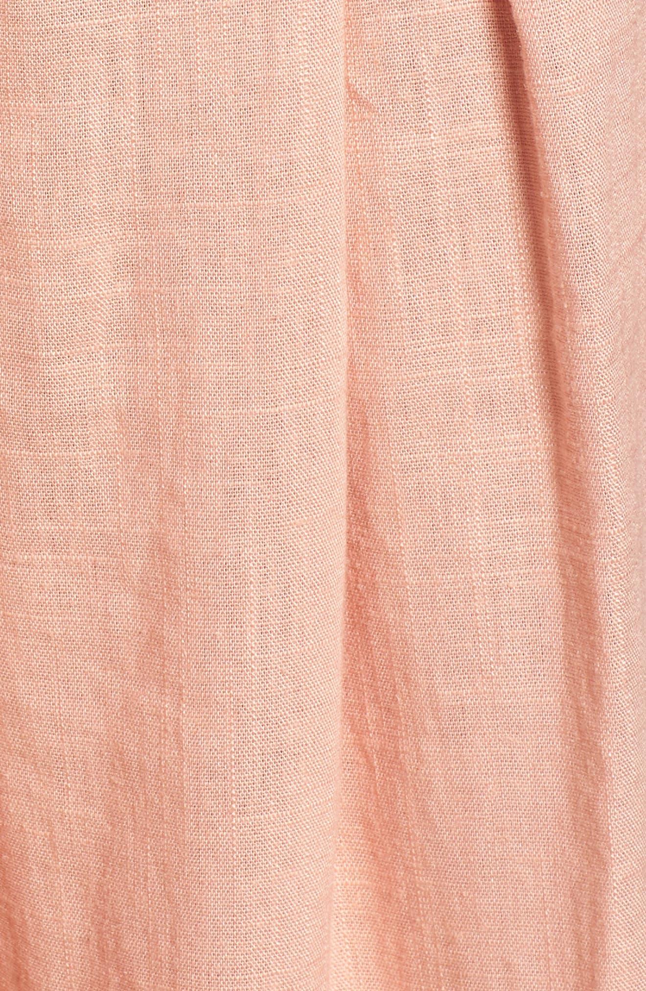 Tie Front Cutout Jumpsuit,                             Alternate thumbnail 6, color,                             Peach