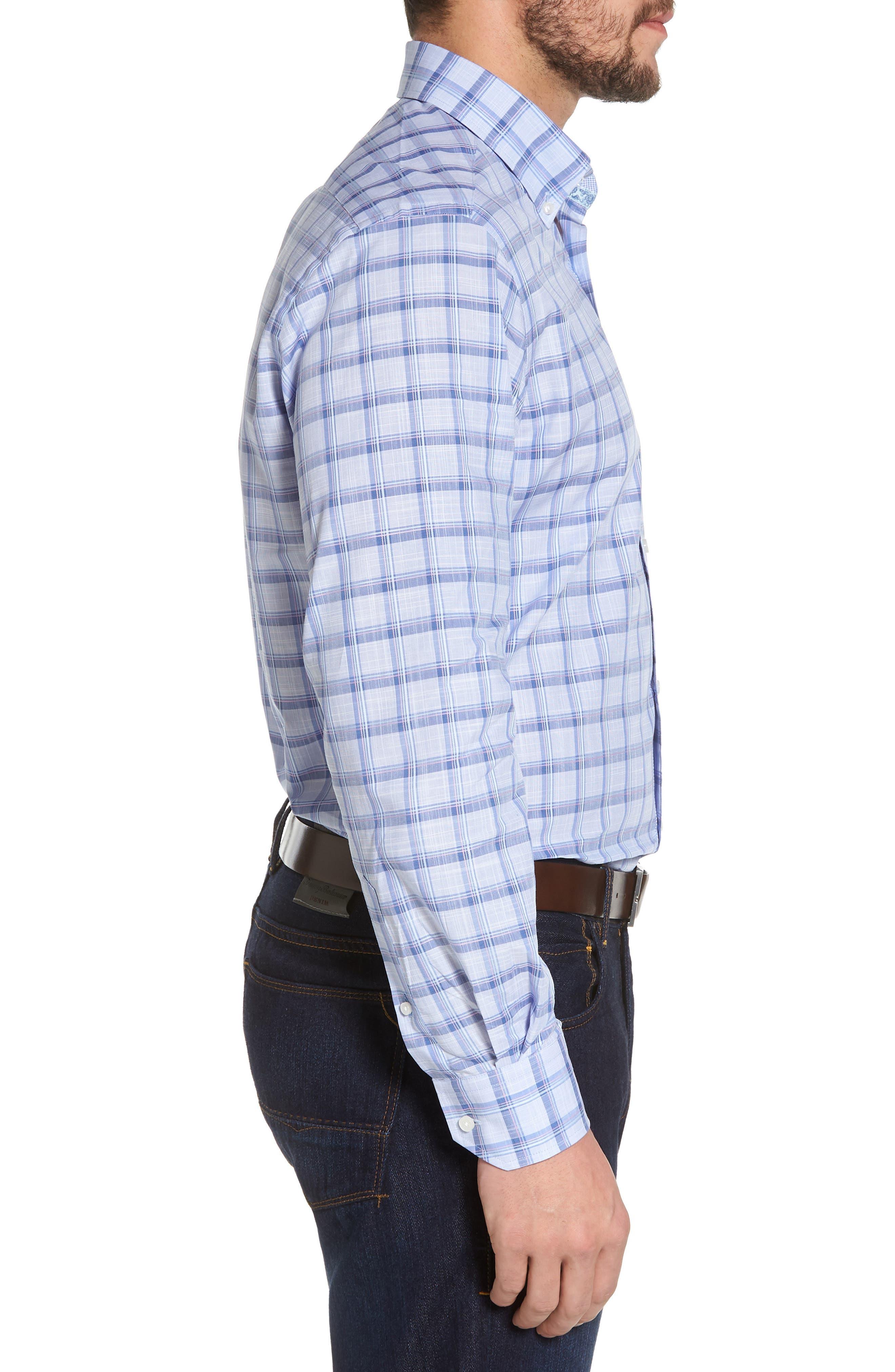 Banks Regular Fit Check Sport Shirt,                             Alternate thumbnail 3, color,                             Chambray