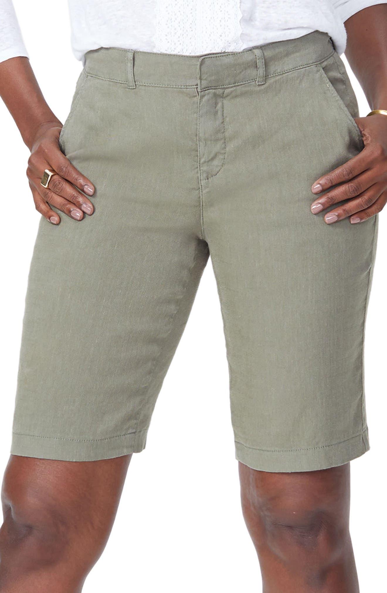 Stretch Linen Blend Bermuda Shorts,                             Main thumbnail 1, color,                             Topiary