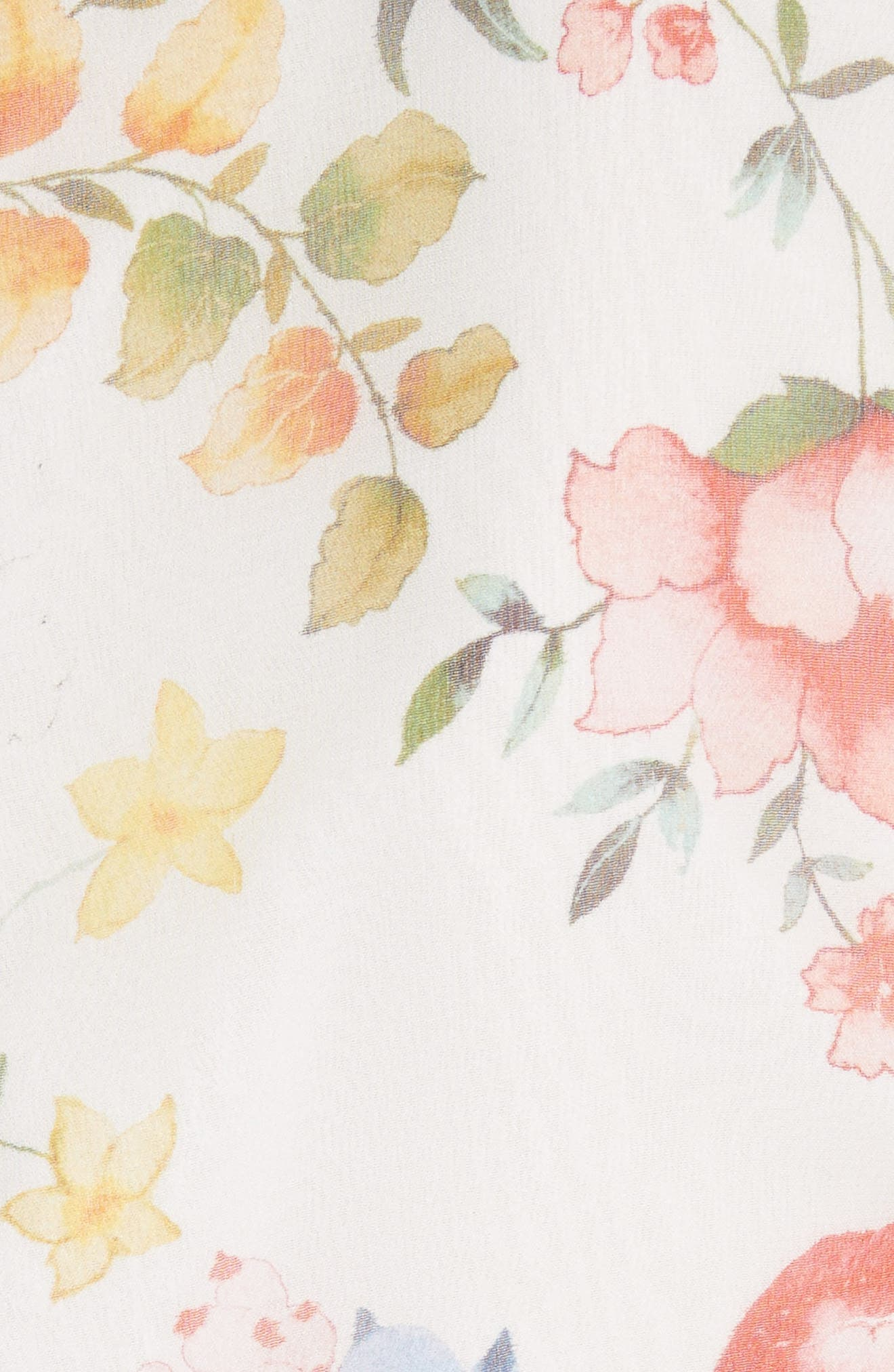 Lessie Ruffled Floral Silk Dress,                             Alternate thumbnail 5, color,                             Floral Soiree-Soft White