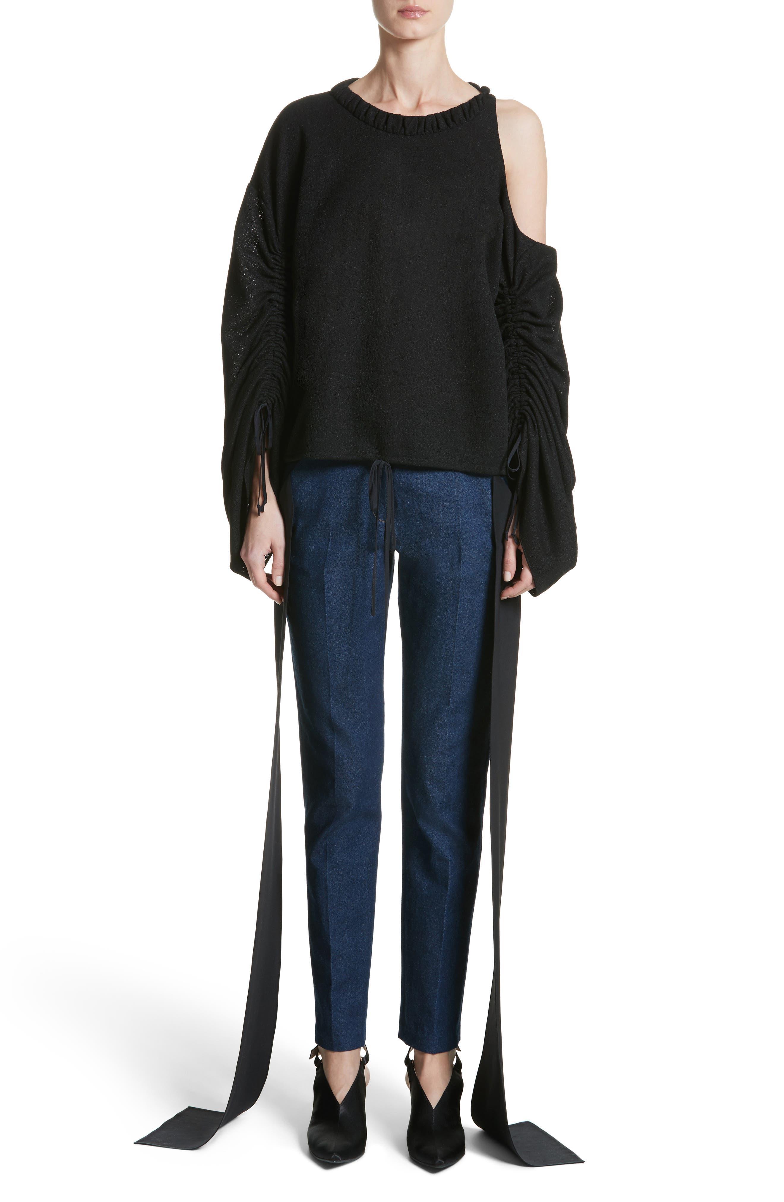 Mojave Side Panel Skinny Jeans,                             Alternate thumbnail 9, color,                             Dark Wash Denim