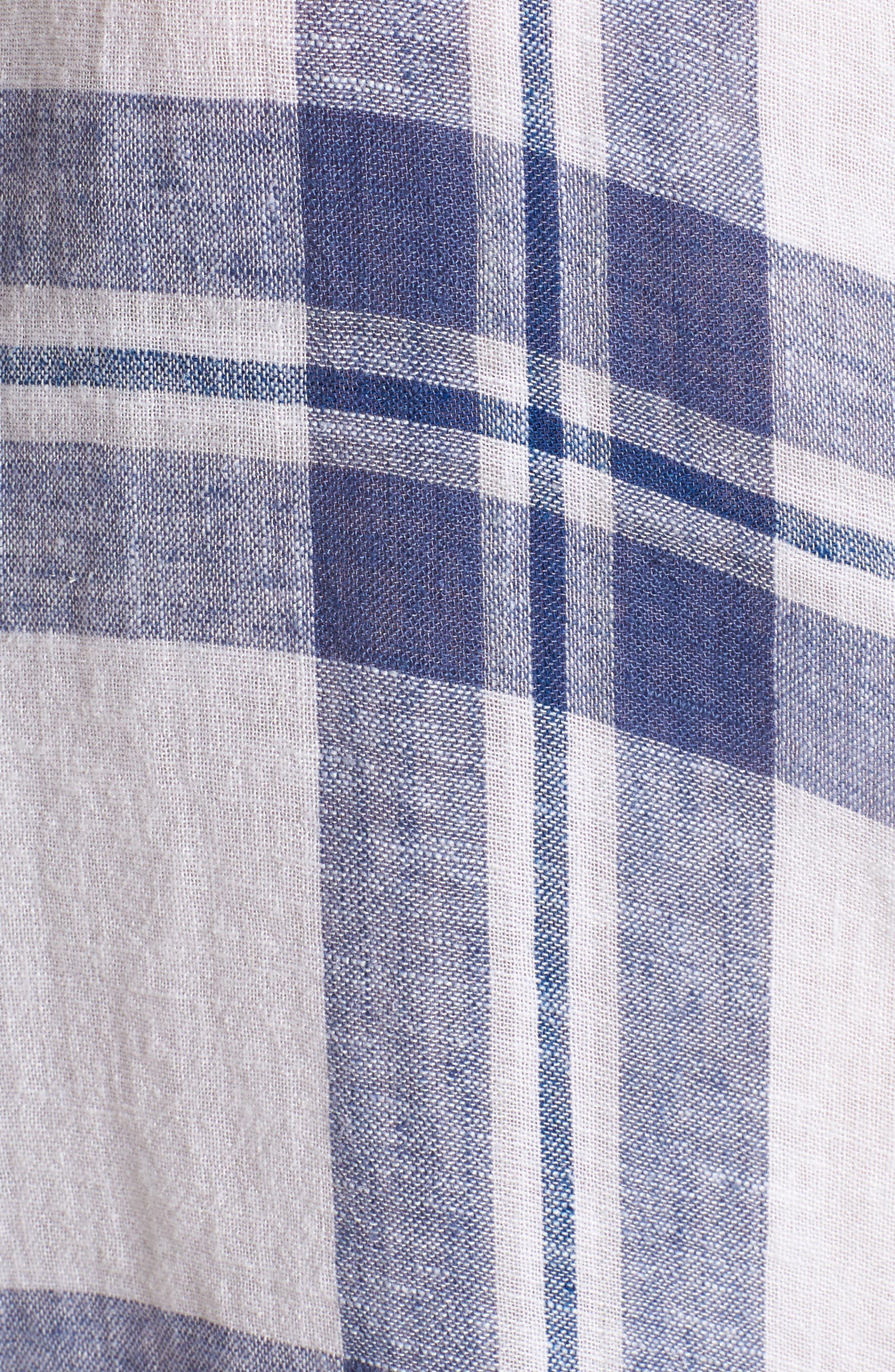 Amelie Tie Front Shirt,                             Alternate thumbnail 5, color,                             Lapis Coast White