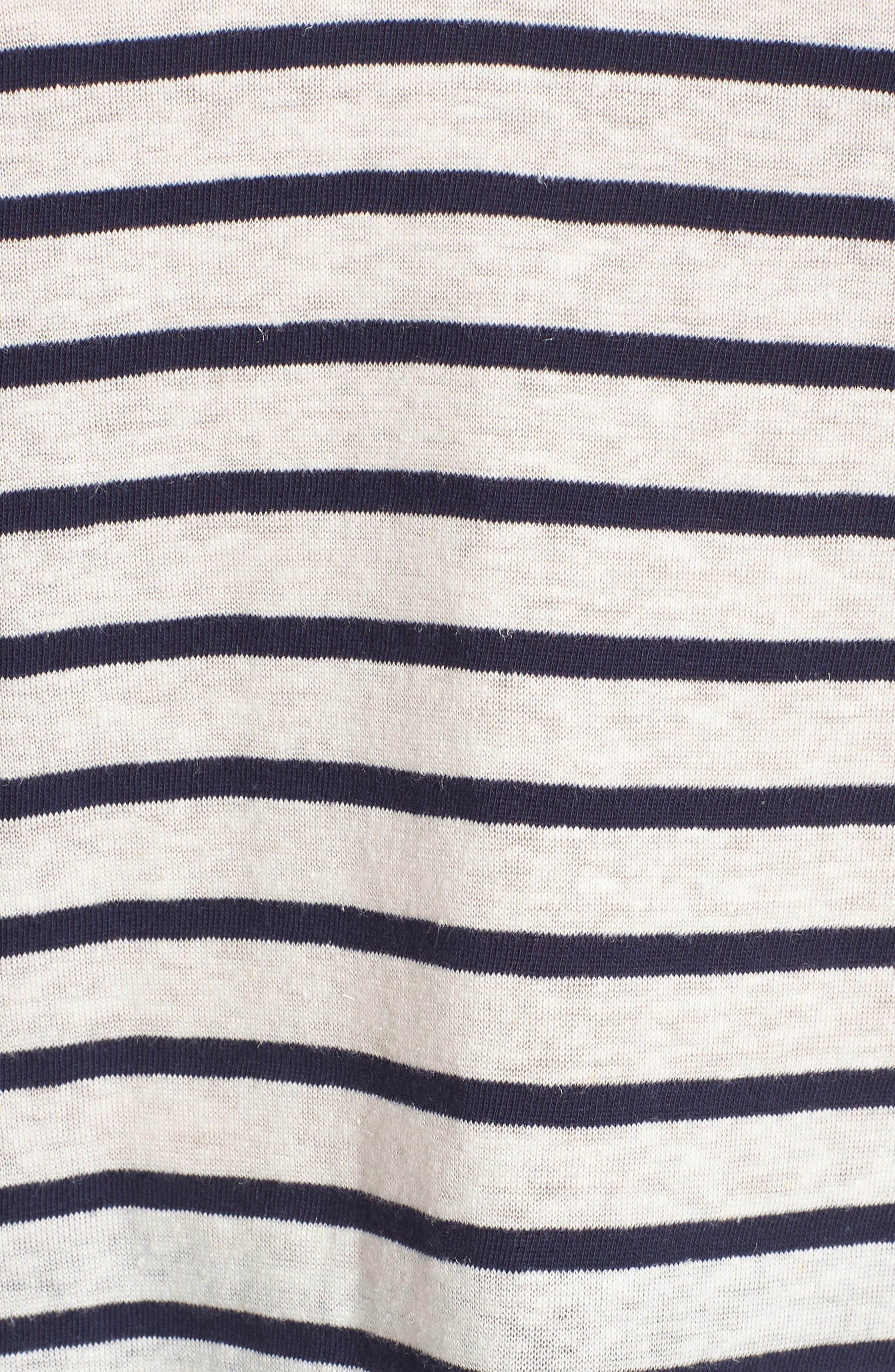Stripe V-Neck Tee,                             Alternate thumbnail 5, color,                             Navy Stripe