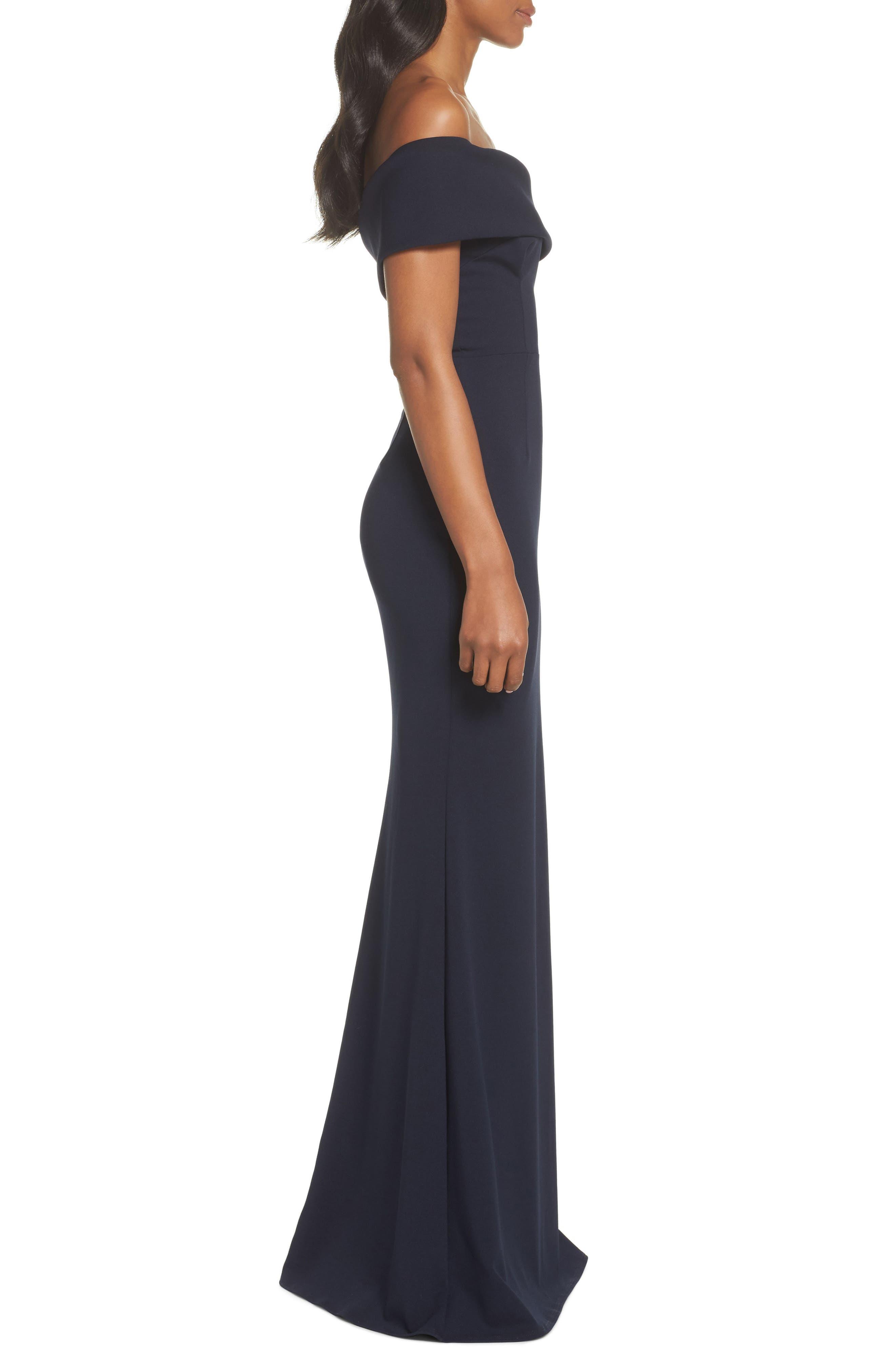 Titan One-Shoulder Cutout Crepe Gown,                             Alternate thumbnail 3, color,                             Navy