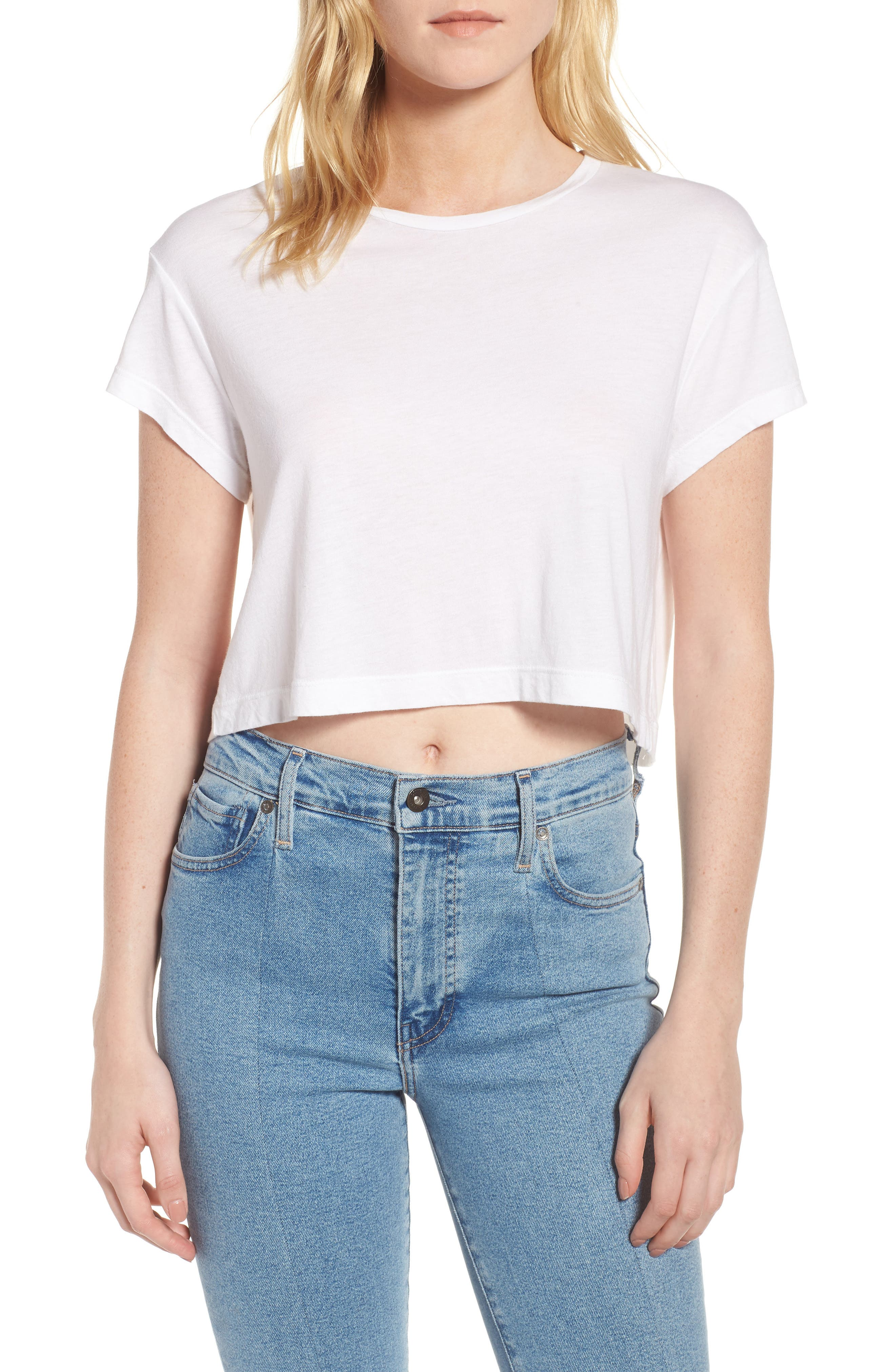 Crop Tee,                         Main,                         color, White