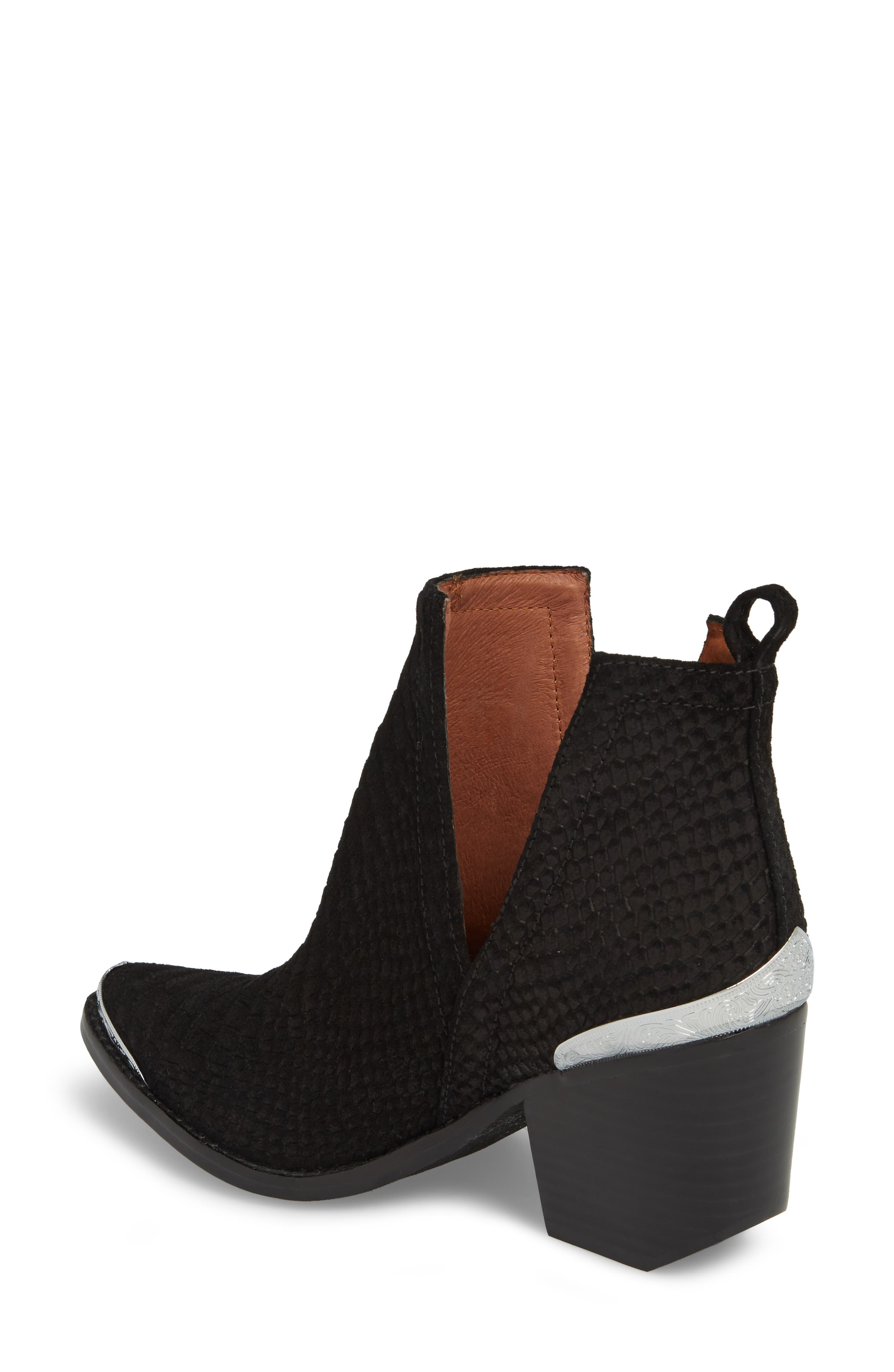 Cromwell Cutout Western Boot,                             Alternate thumbnail 2, color,                             Black Suede/ Snake