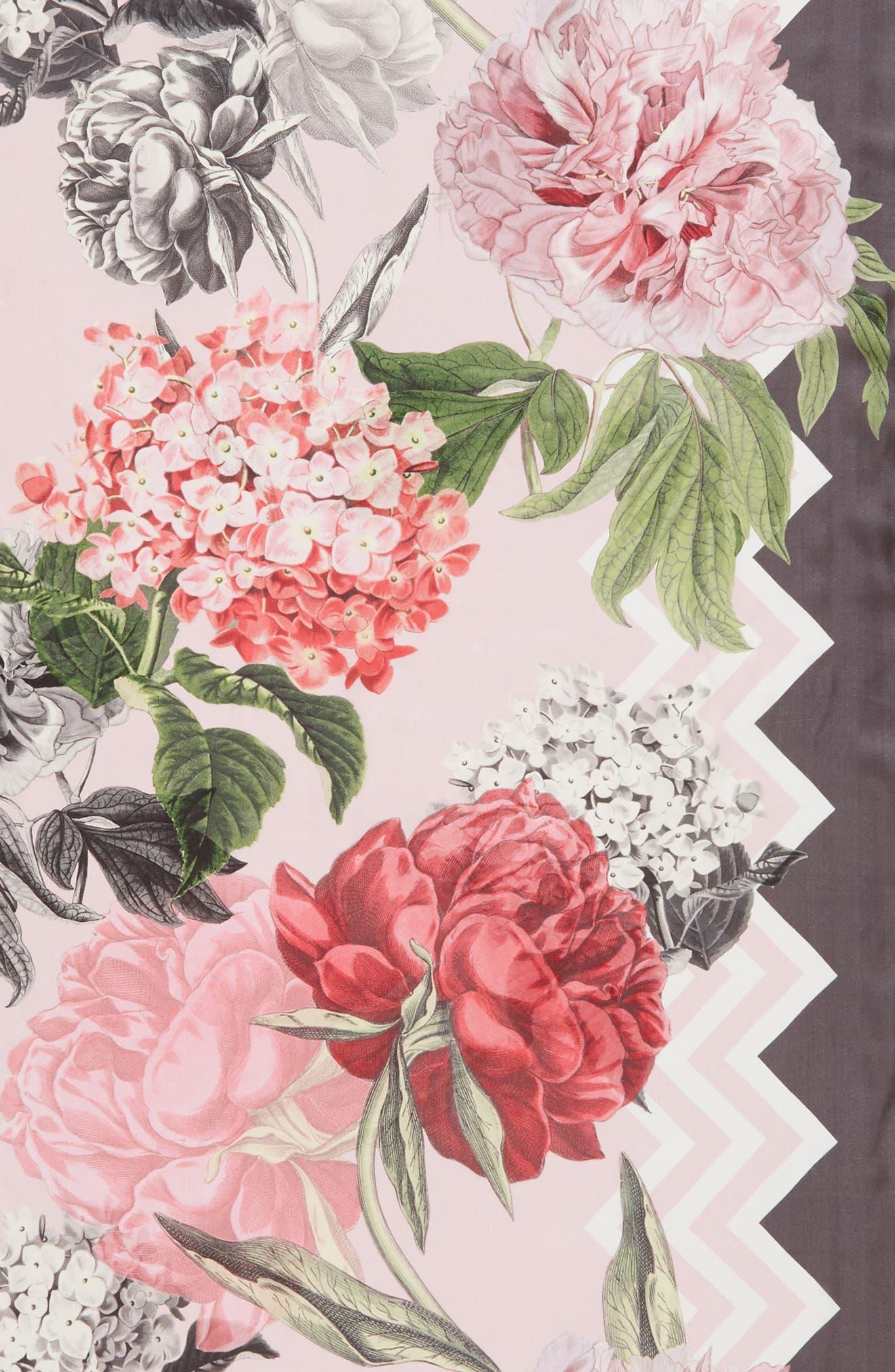 Palace Gardens Silk Scarf,                             Alternate thumbnail 4, color,                             Dusky Pink