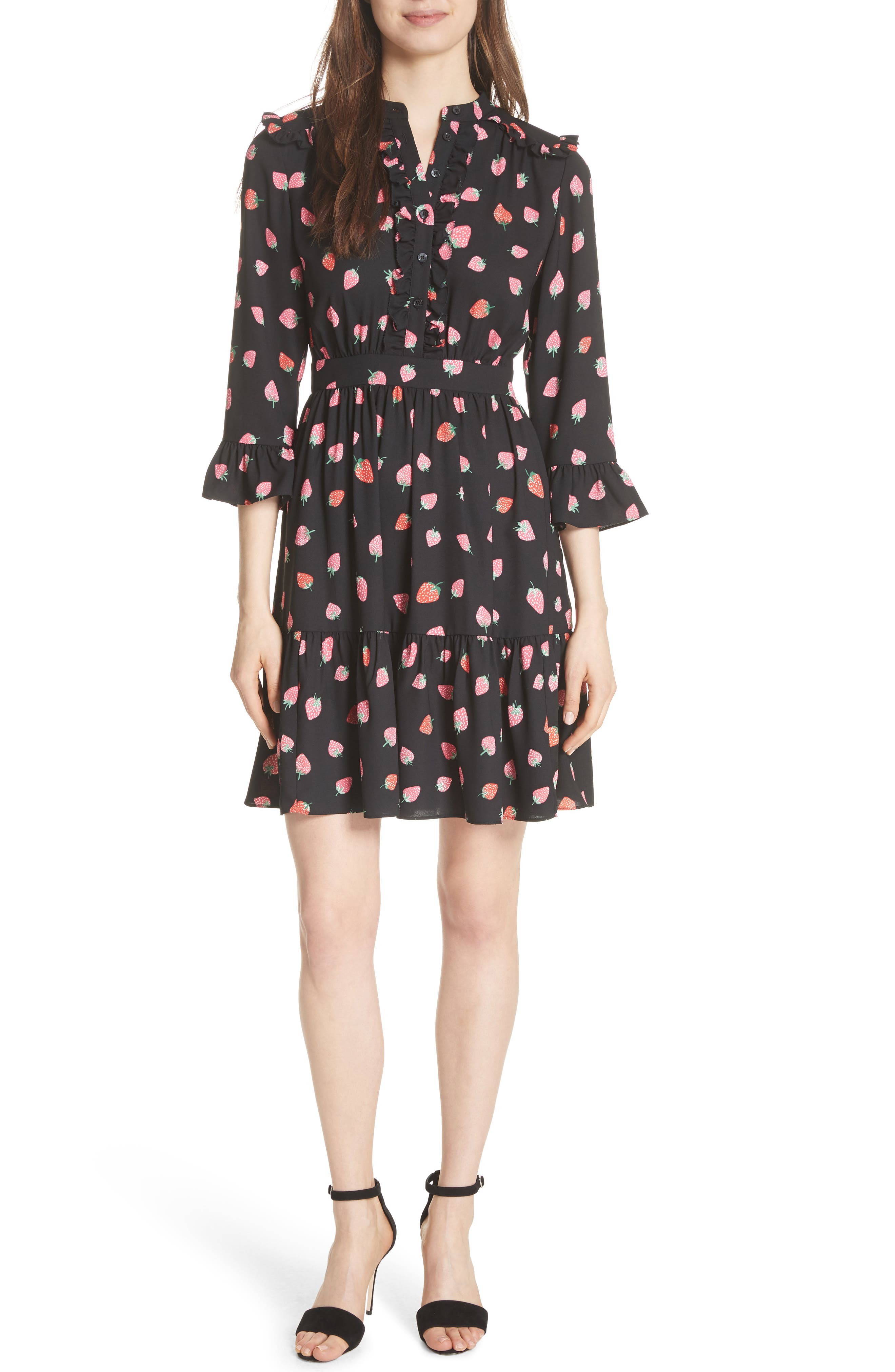 tossed berry shirtdress,                         Main,                         color, Black