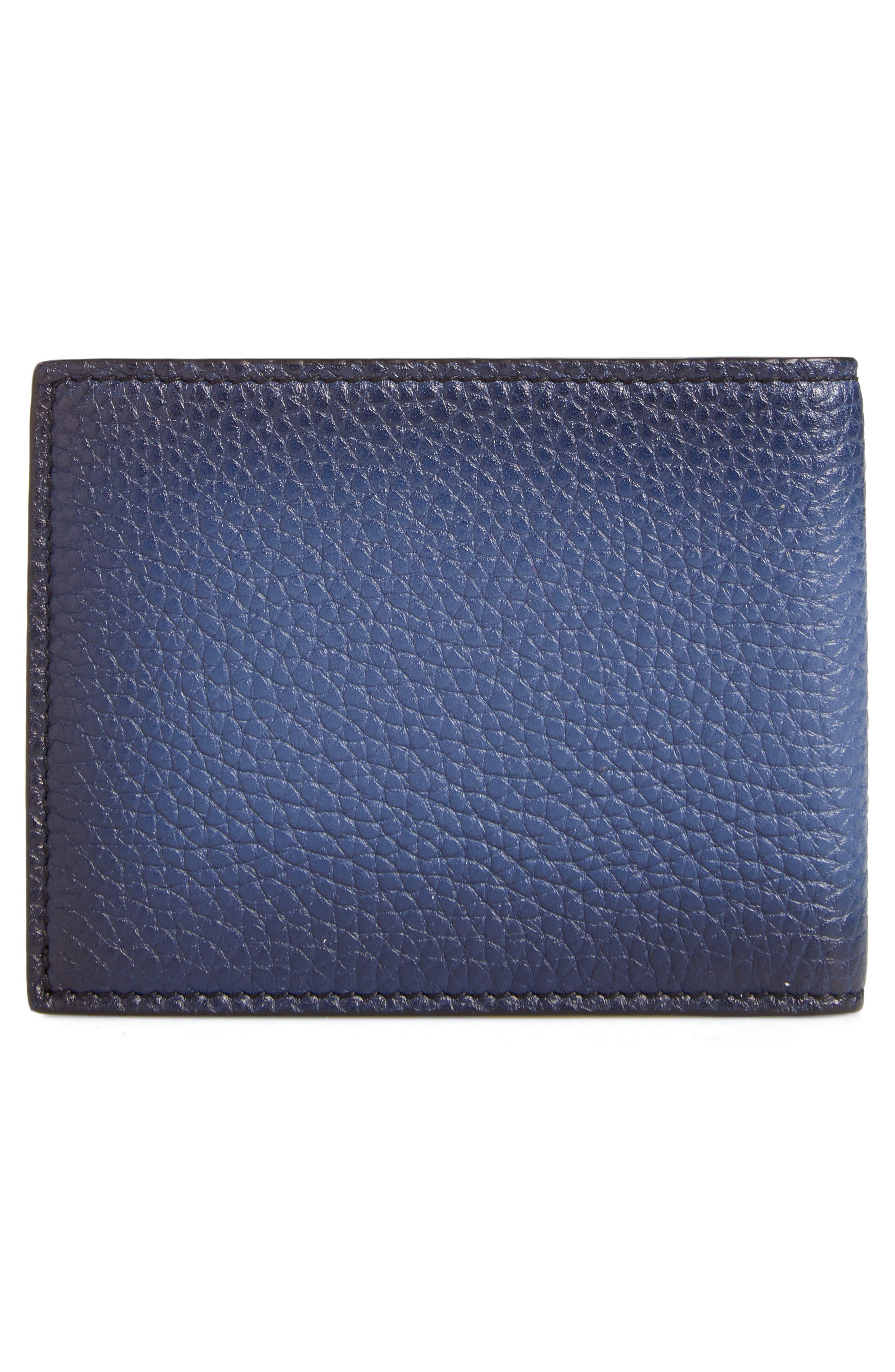Firenze Glow Calfskin Leather Bifold Wallet,                             Alternate thumbnail 3, color,                             Blue