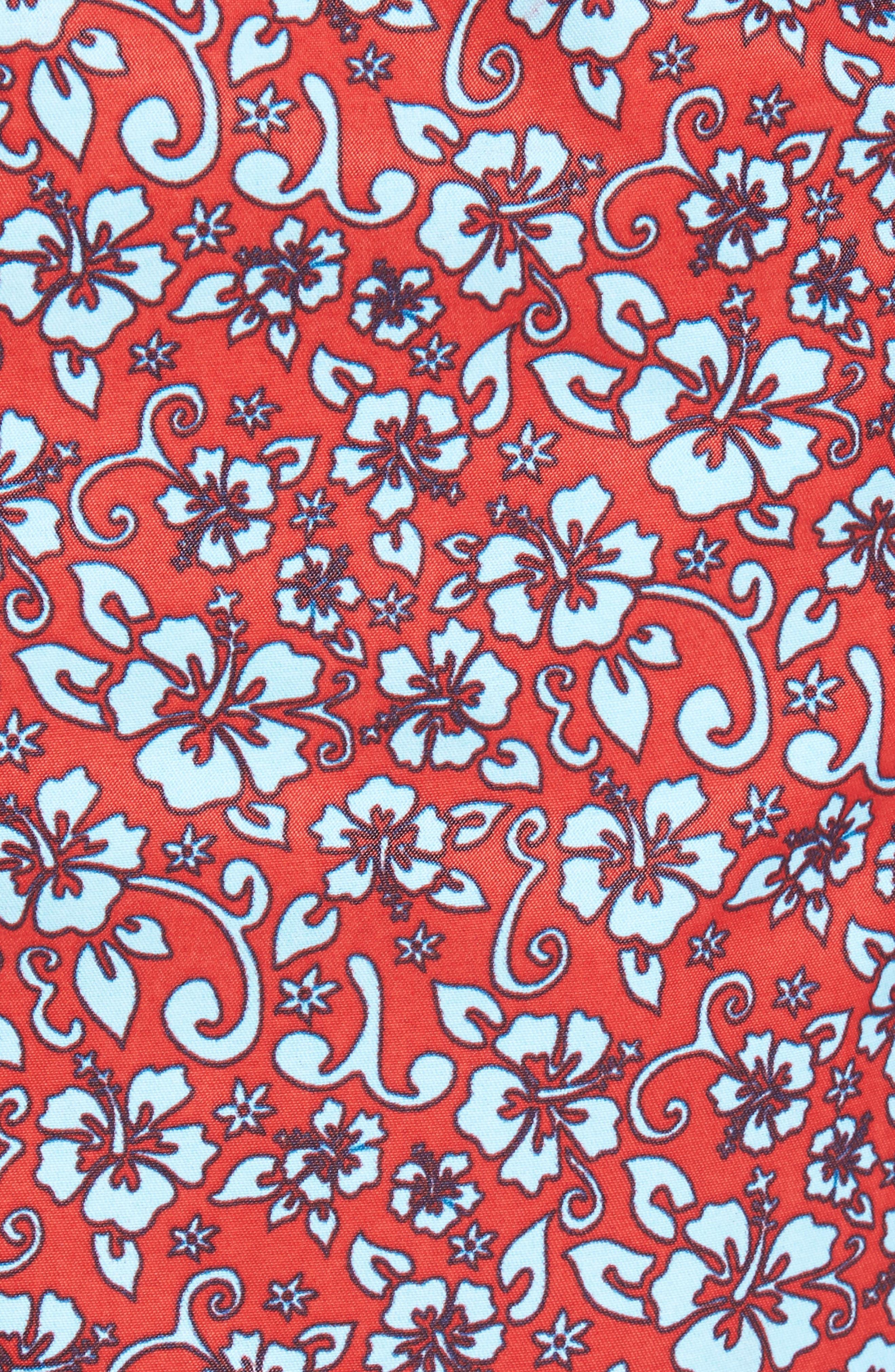 Mr. Swim Trim Fit Floral Swim Trunks,                             Alternate thumbnail 5, color,                             Red
