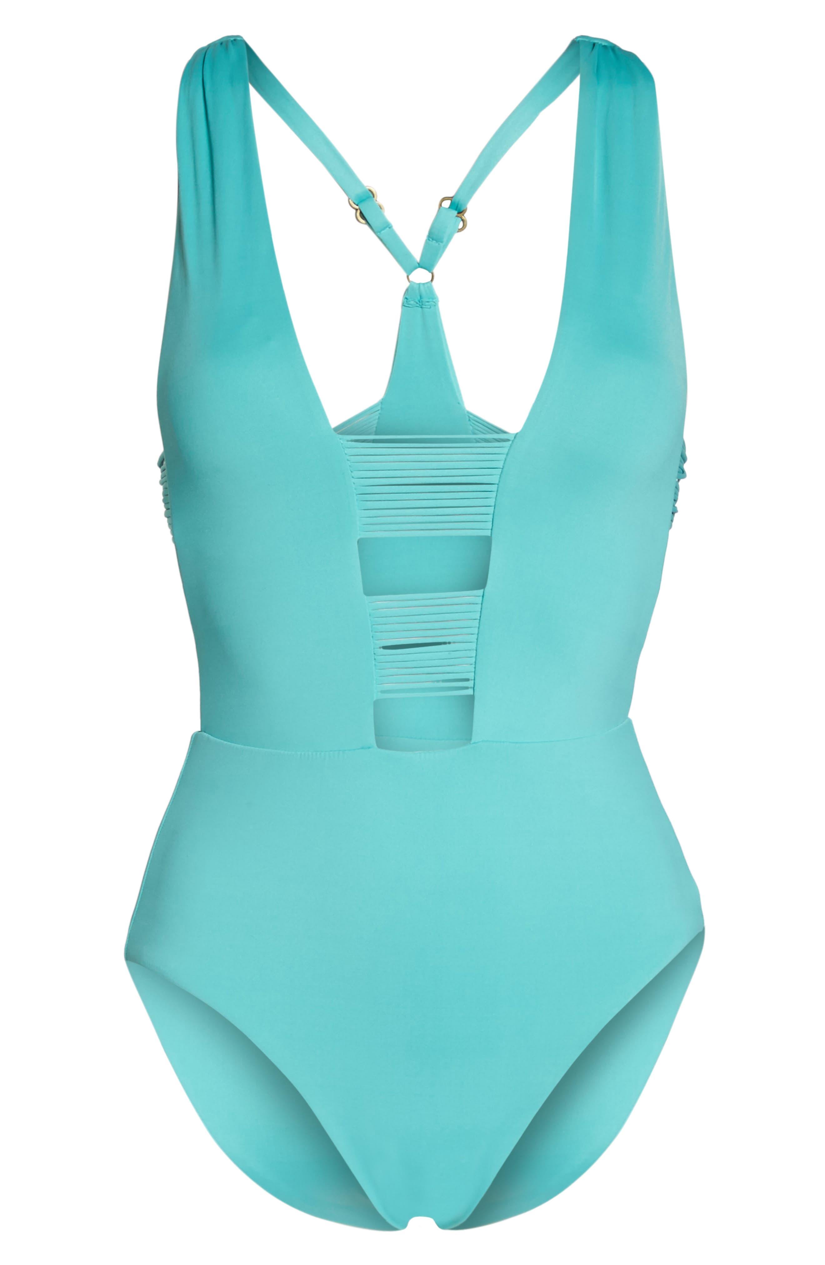 Beach Solids One-Piece Swimsuit,                             Alternate thumbnail 6, color,                             Caribbean