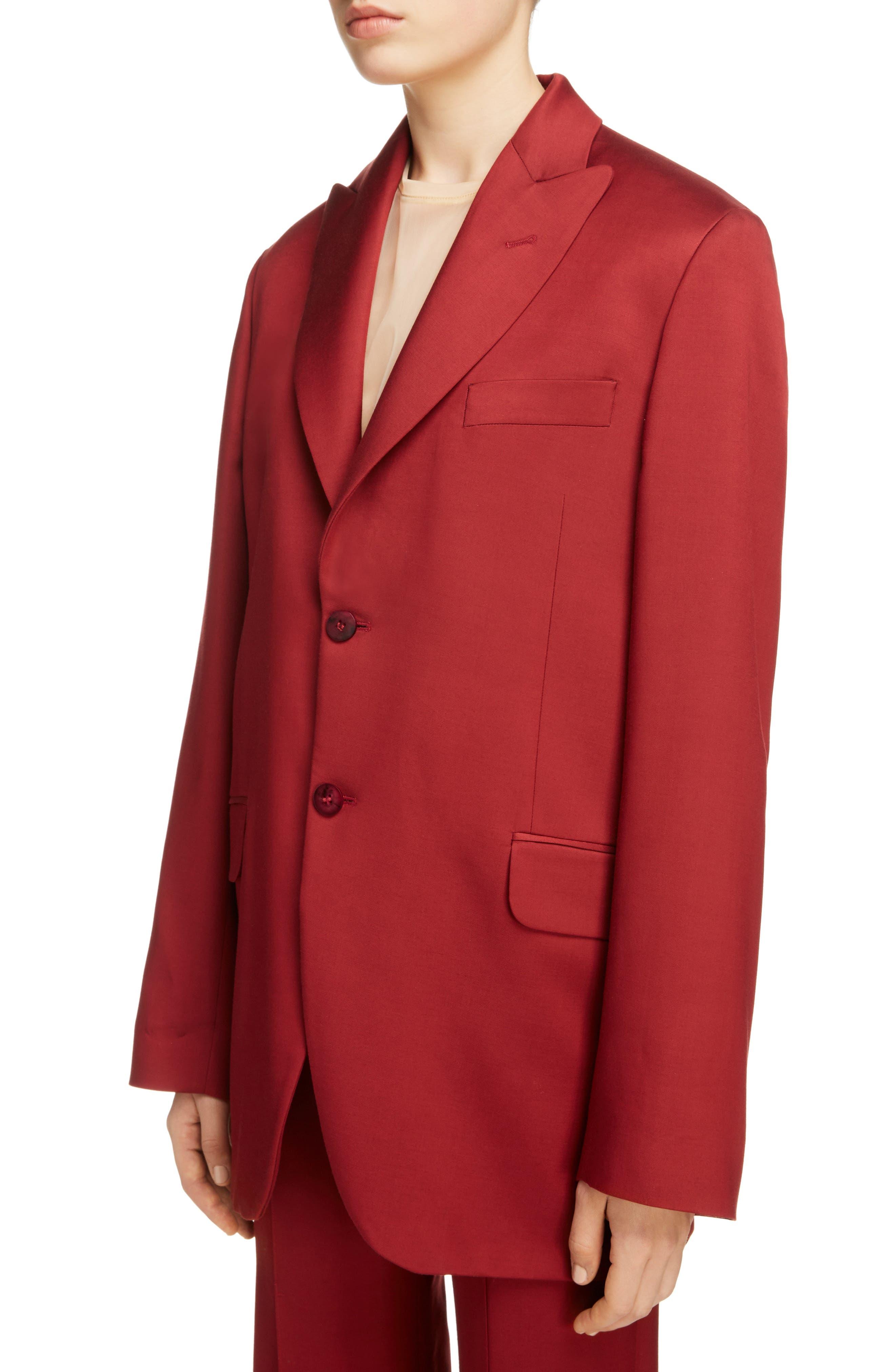 Jaria Suit Jacket,                             Alternate thumbnail 4, color,                             Crimson Red
