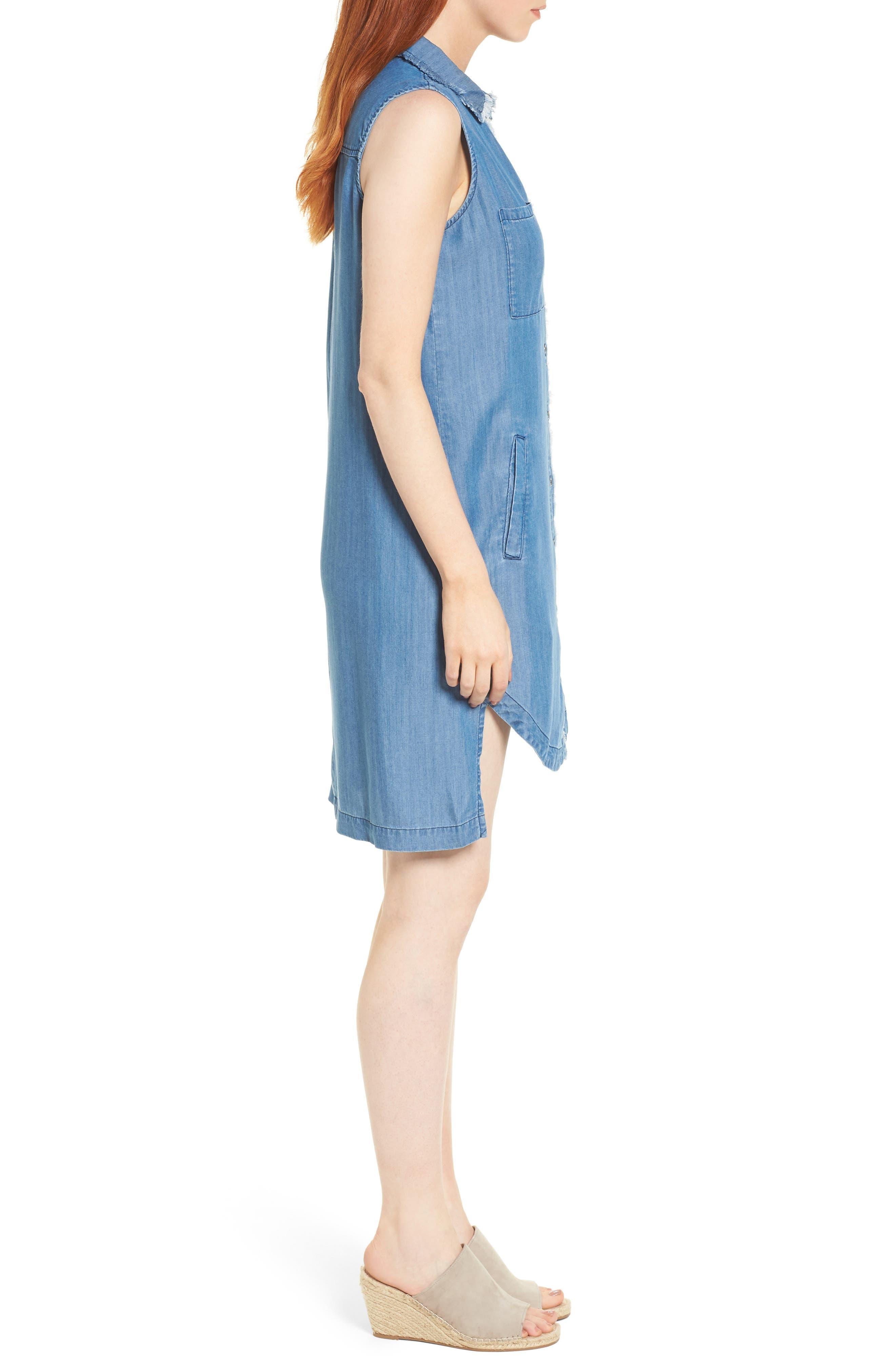 Sleeveless Back Cutout Shirtdress,                             Alternate thumbnail 3, color,                             Blue
