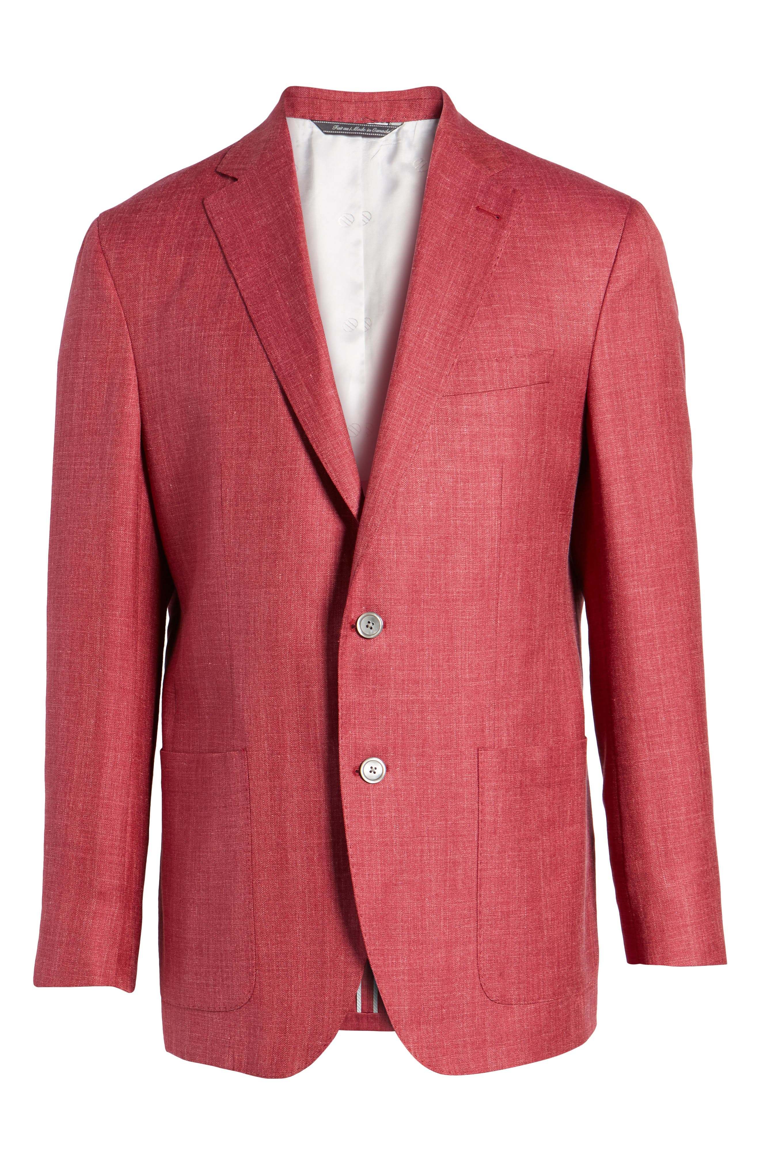 Aiden Classic Fit Wool Blend Blazer,                             Alternate thumbnail 6, color,                             Red