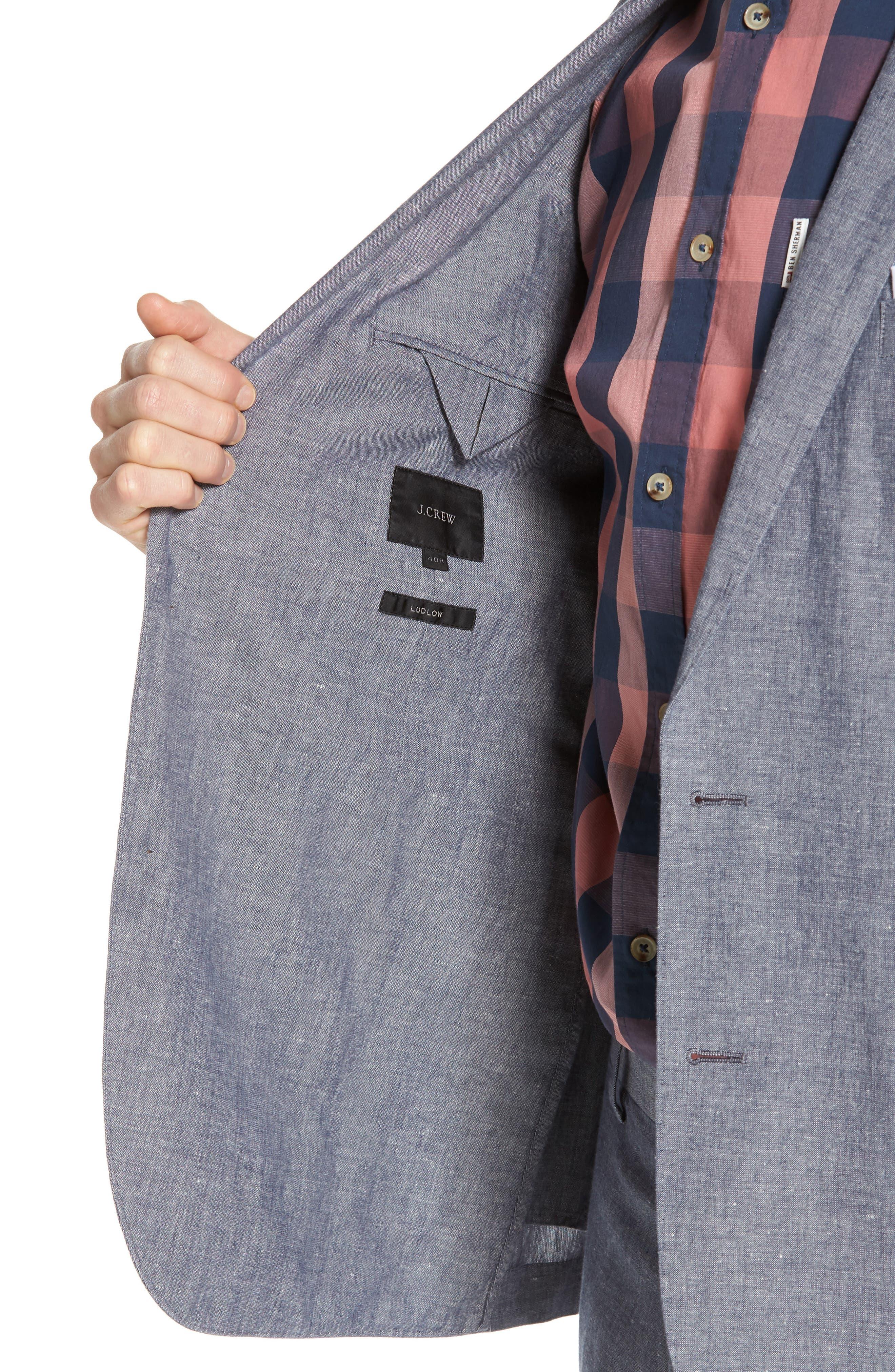 Ludlow Cotton & Linen Blazer,                             Alternate thumbnail 4, color,                             Deep Water Blue