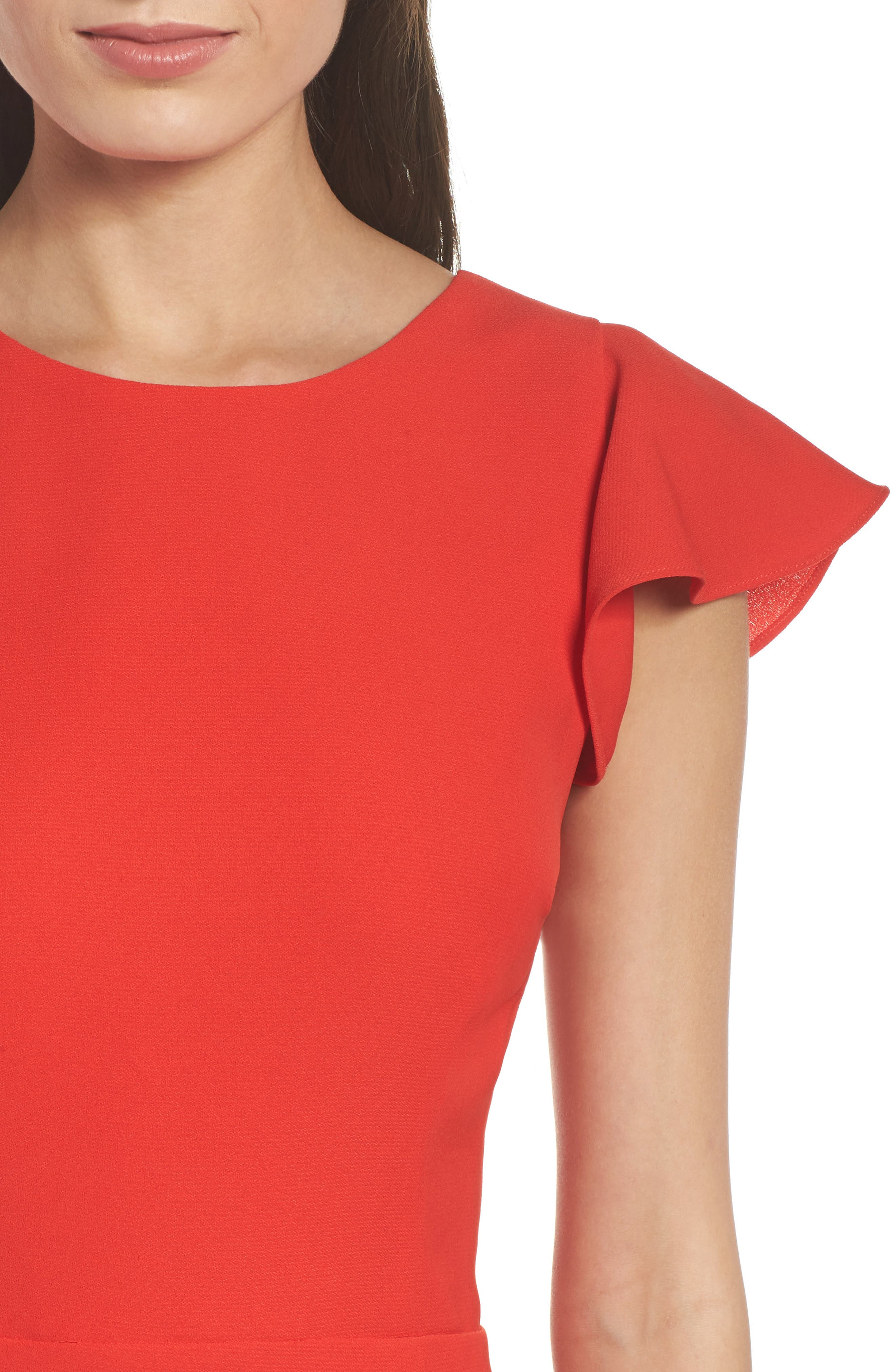 Ruffle Edge Sheath Dress,                             Alternate thumbnail 4, color,                             Coral