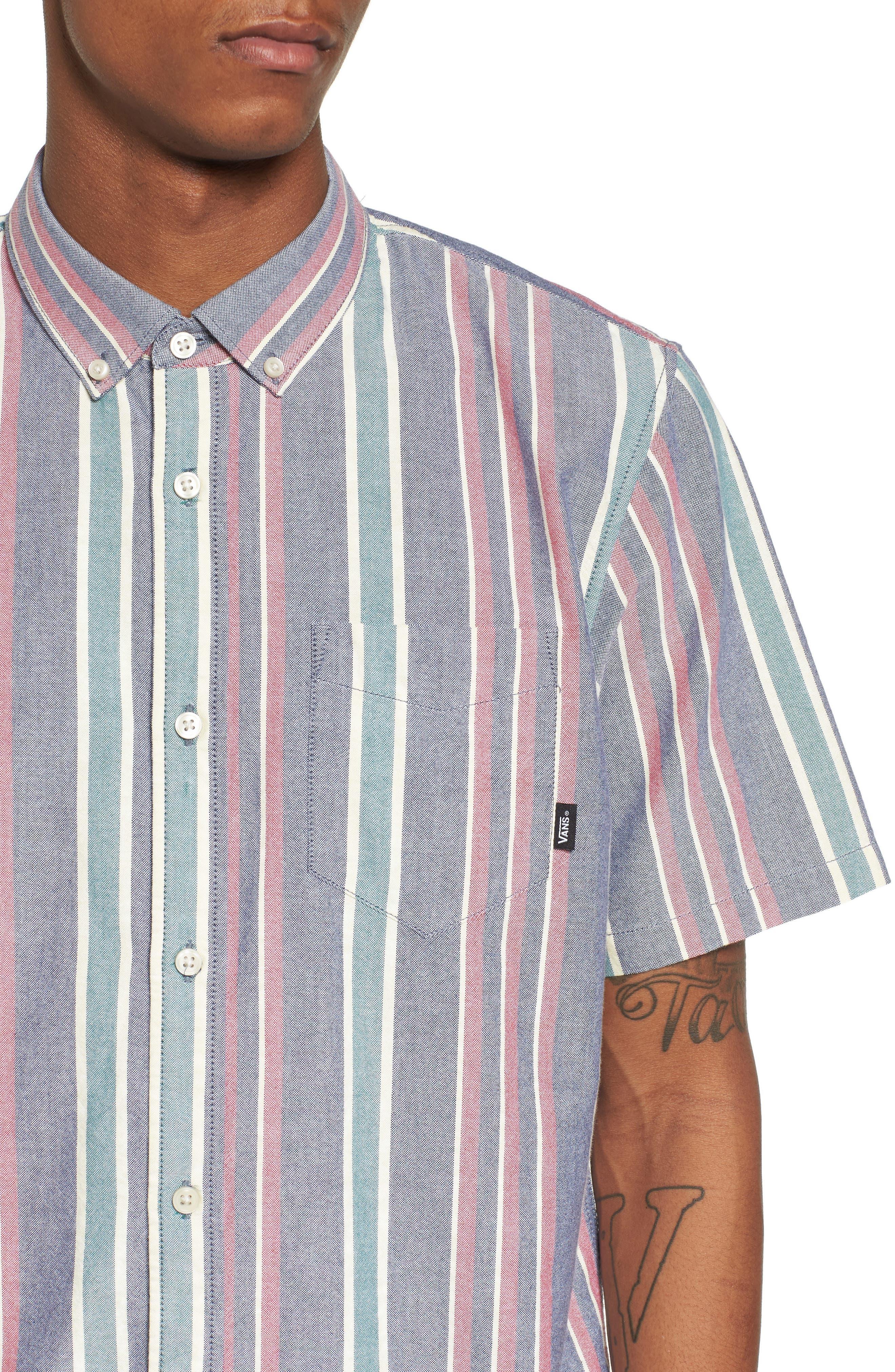 Houser Short Sleeve Shirt,                             Alternate thumbnail 4, color,                             Dress Blues/ Evergreen