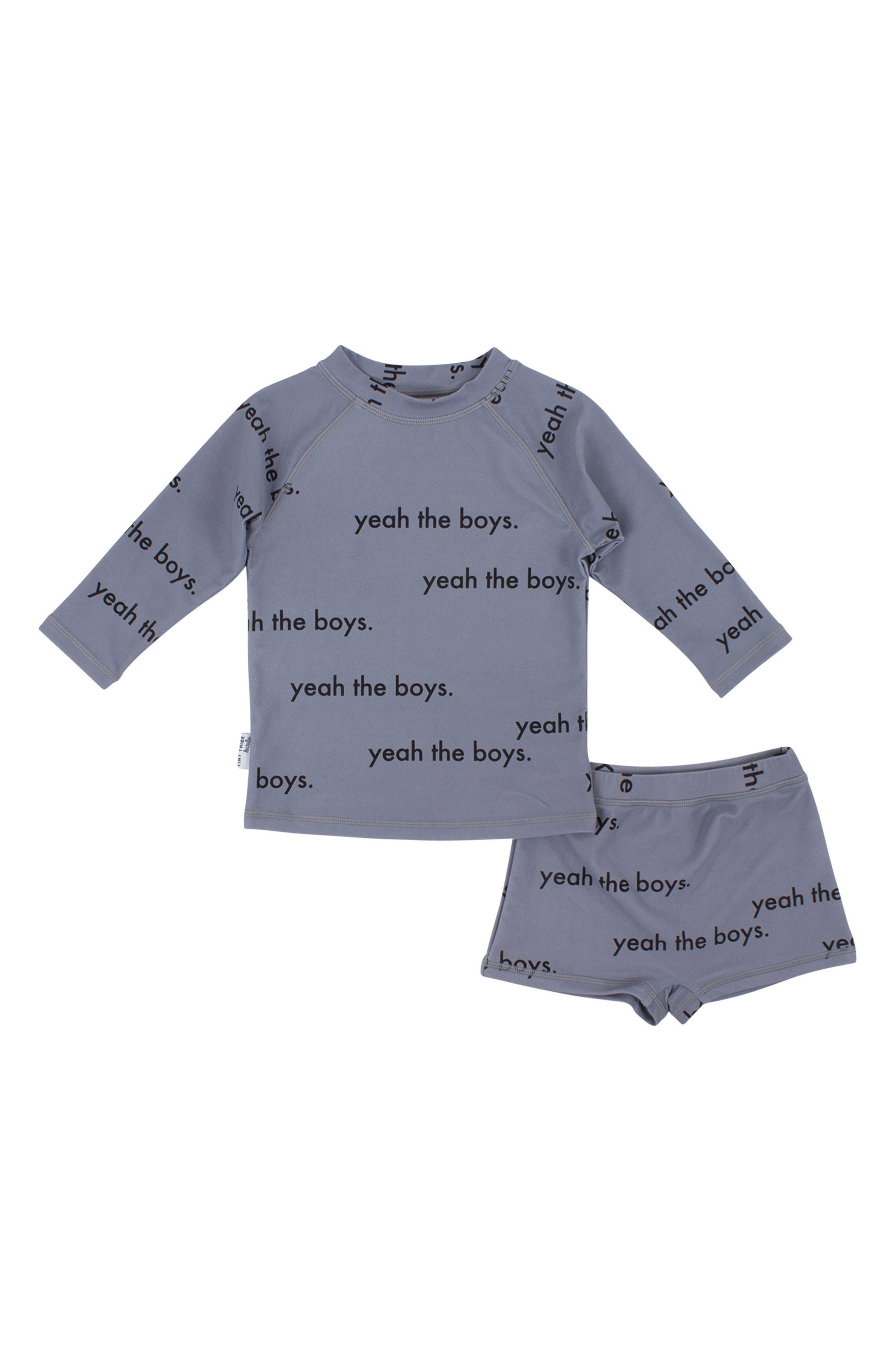 Yeah the Boys Rashguard & Shorts Set,                             Main thumbnail 1, color,                             Grey