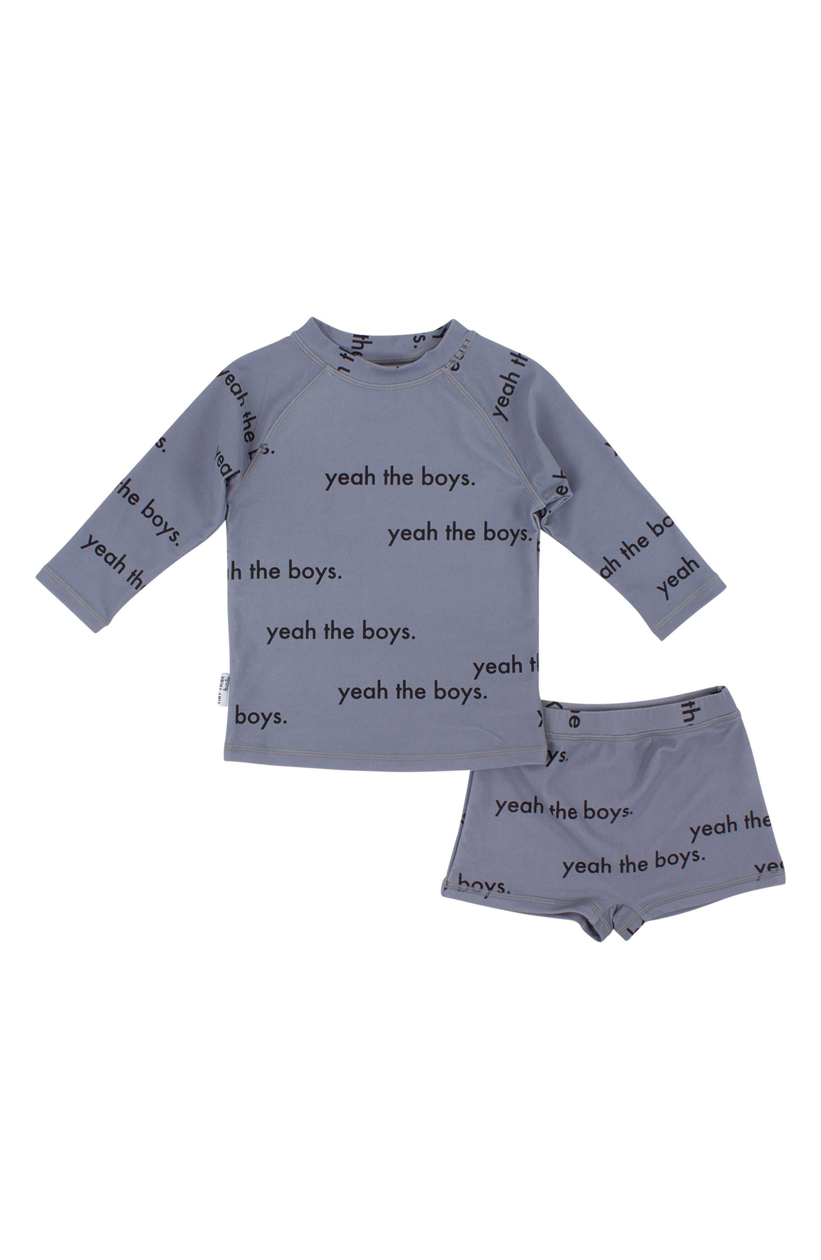 Main Image - Tiny Tribe Yeah the Boys Rashguard & Shorts Set (Toddler Boys & Little Boys)