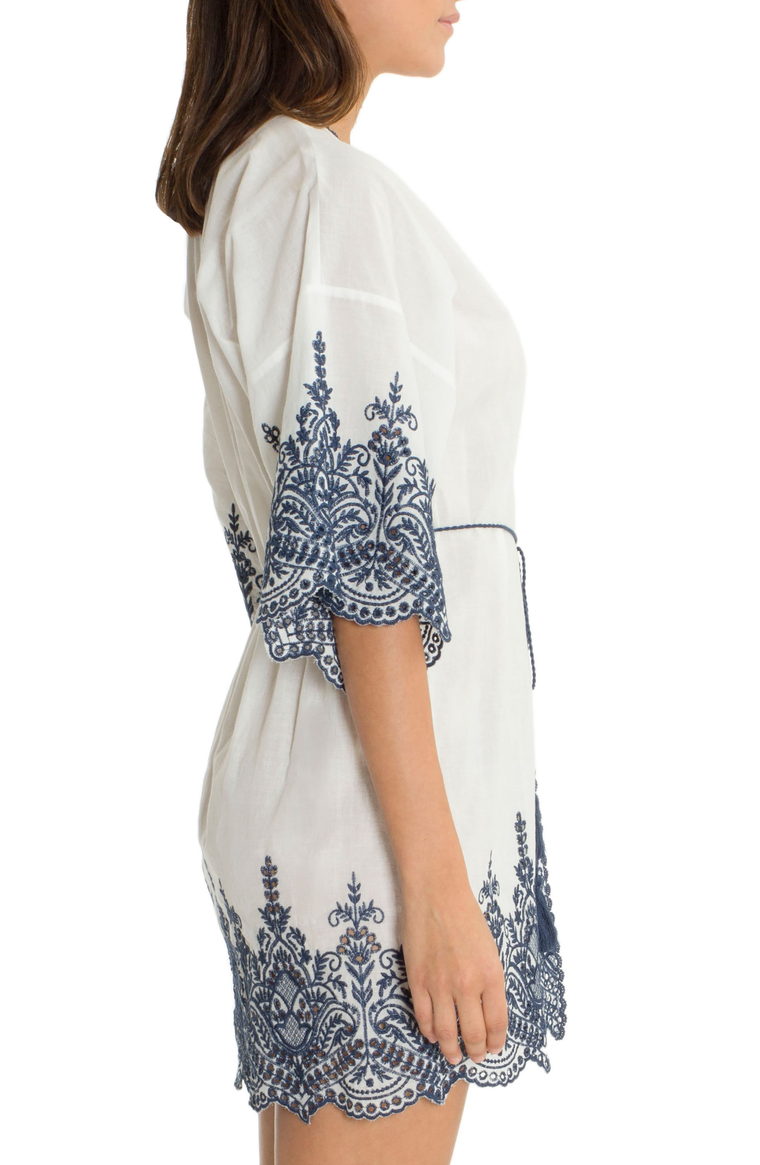 Embroidered Wrap,                             Alternate thumbnail 3, color,                             Ivory/ Navy