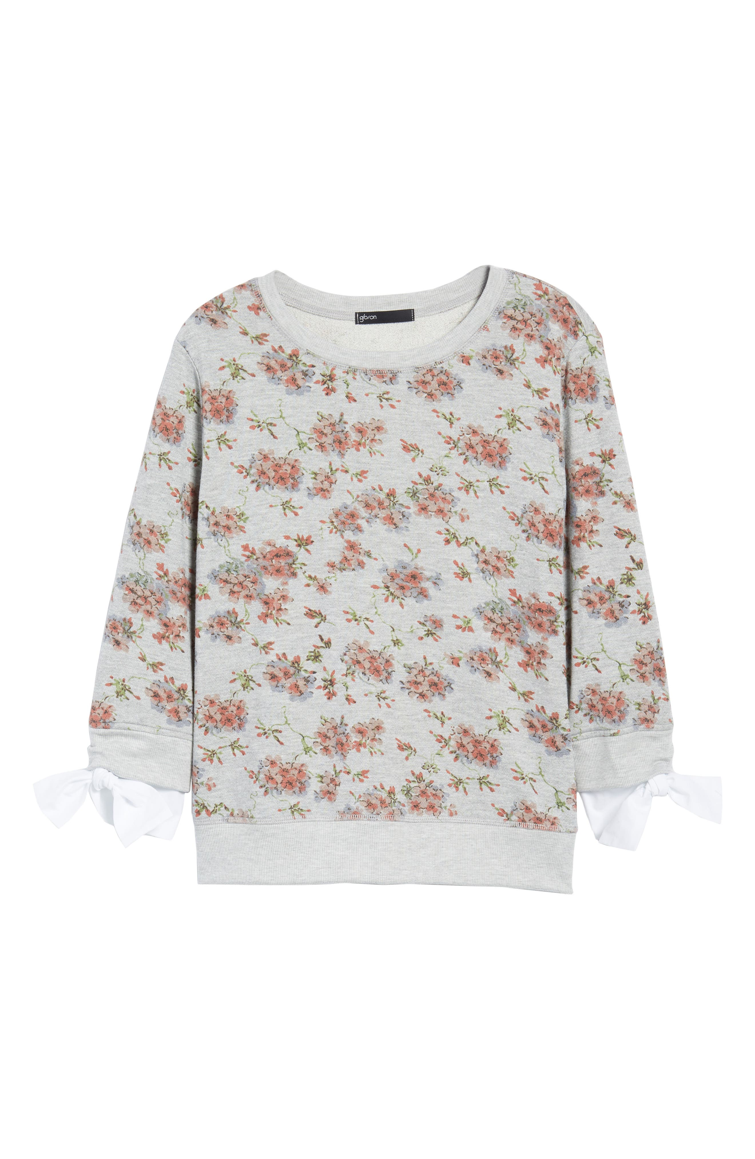 Poplin Cuff Sweatshirt,                             Alternate thumbnail 7, color,                             Grey Blush Floral W/ White
