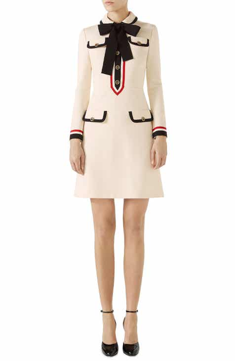 3d79d8ceaa75 Gucci Bow Neck Piped Jersey Dress