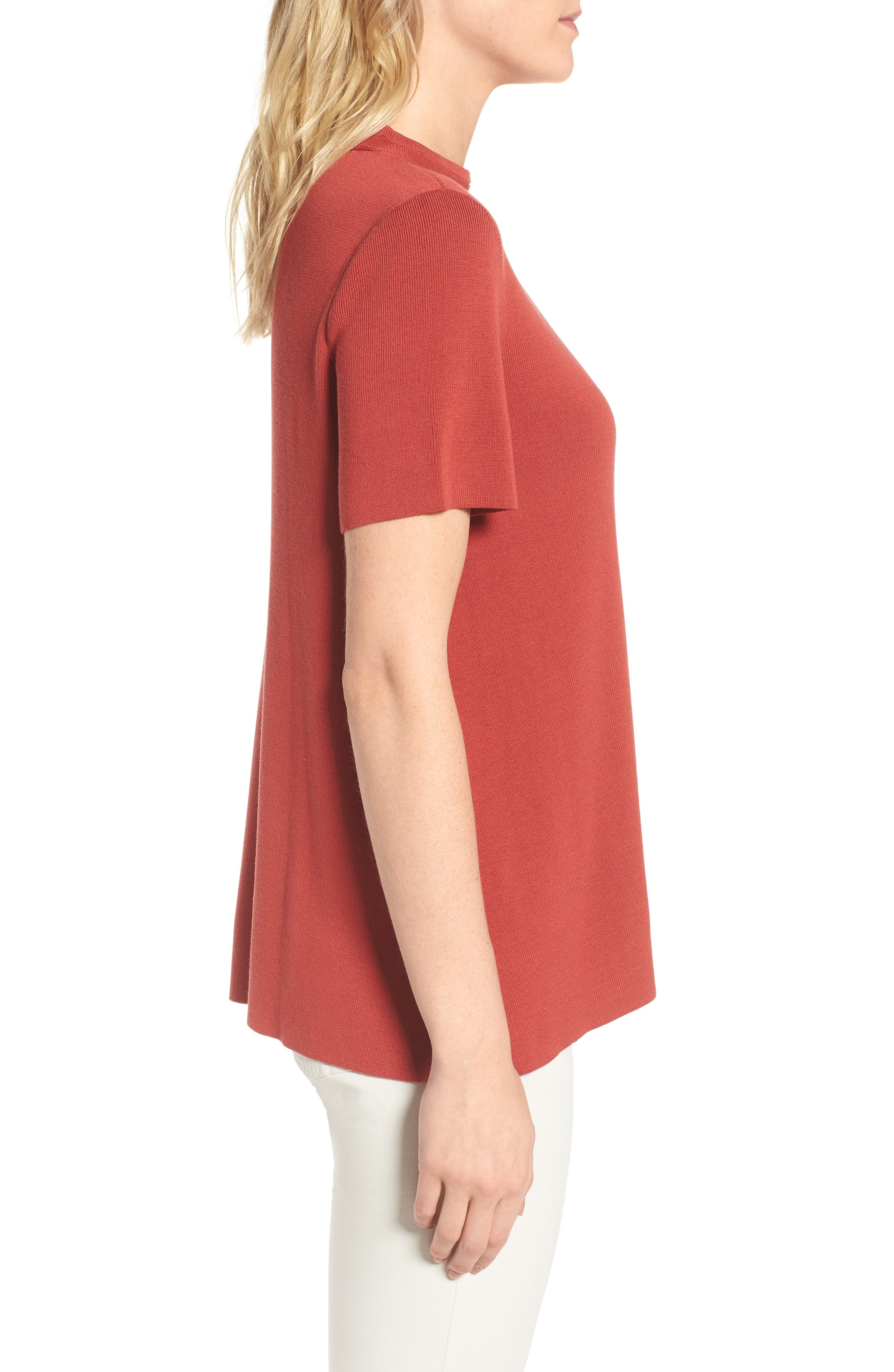 Tencel<sup>®</sup> Lyocell Knit Sweater,                             Alternate thumbnail 3, color,                             Coral Rose