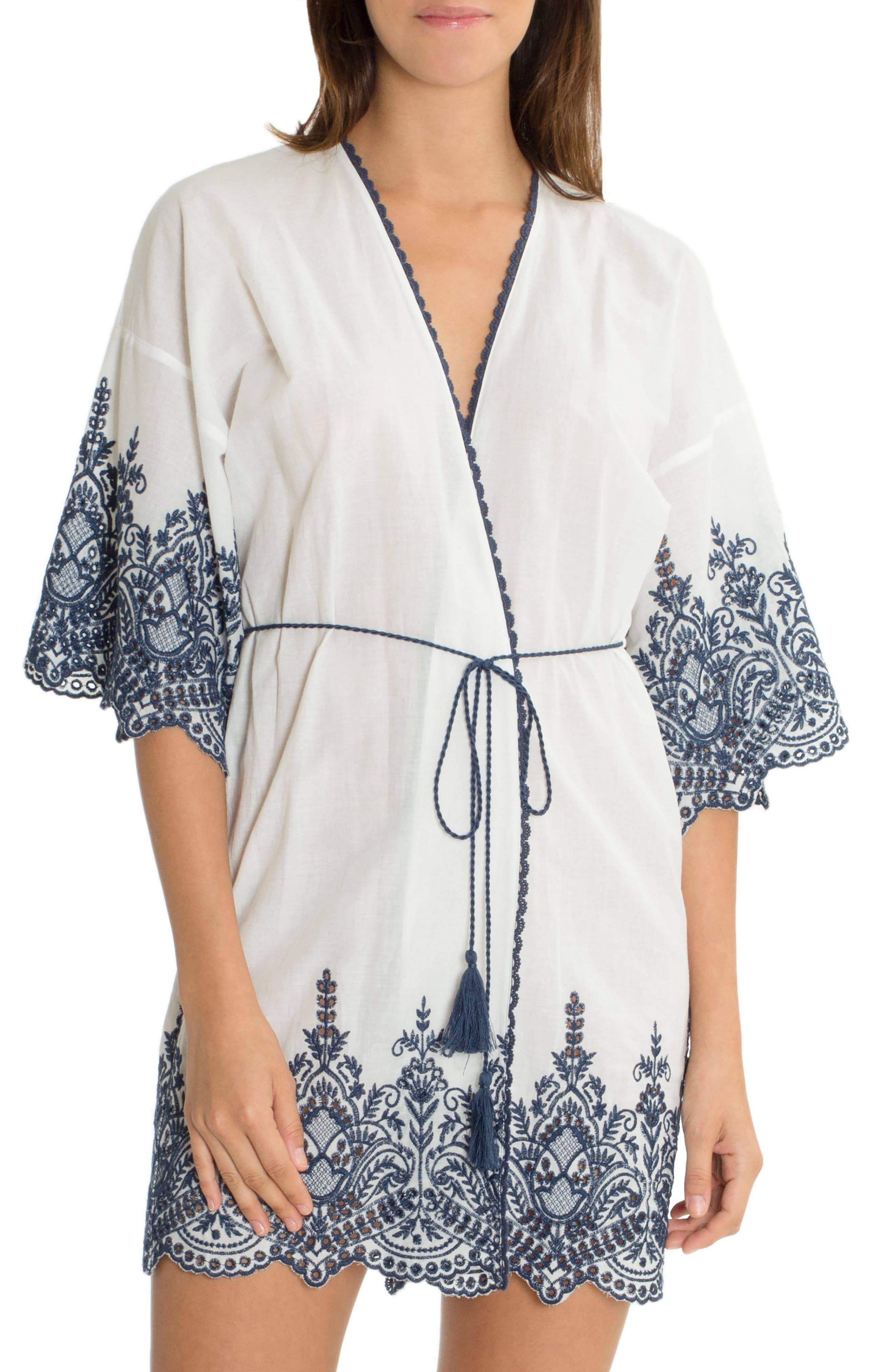 Embroidered Wrap,                             Main thumbnail 1, color,                             Ivory/ Navy