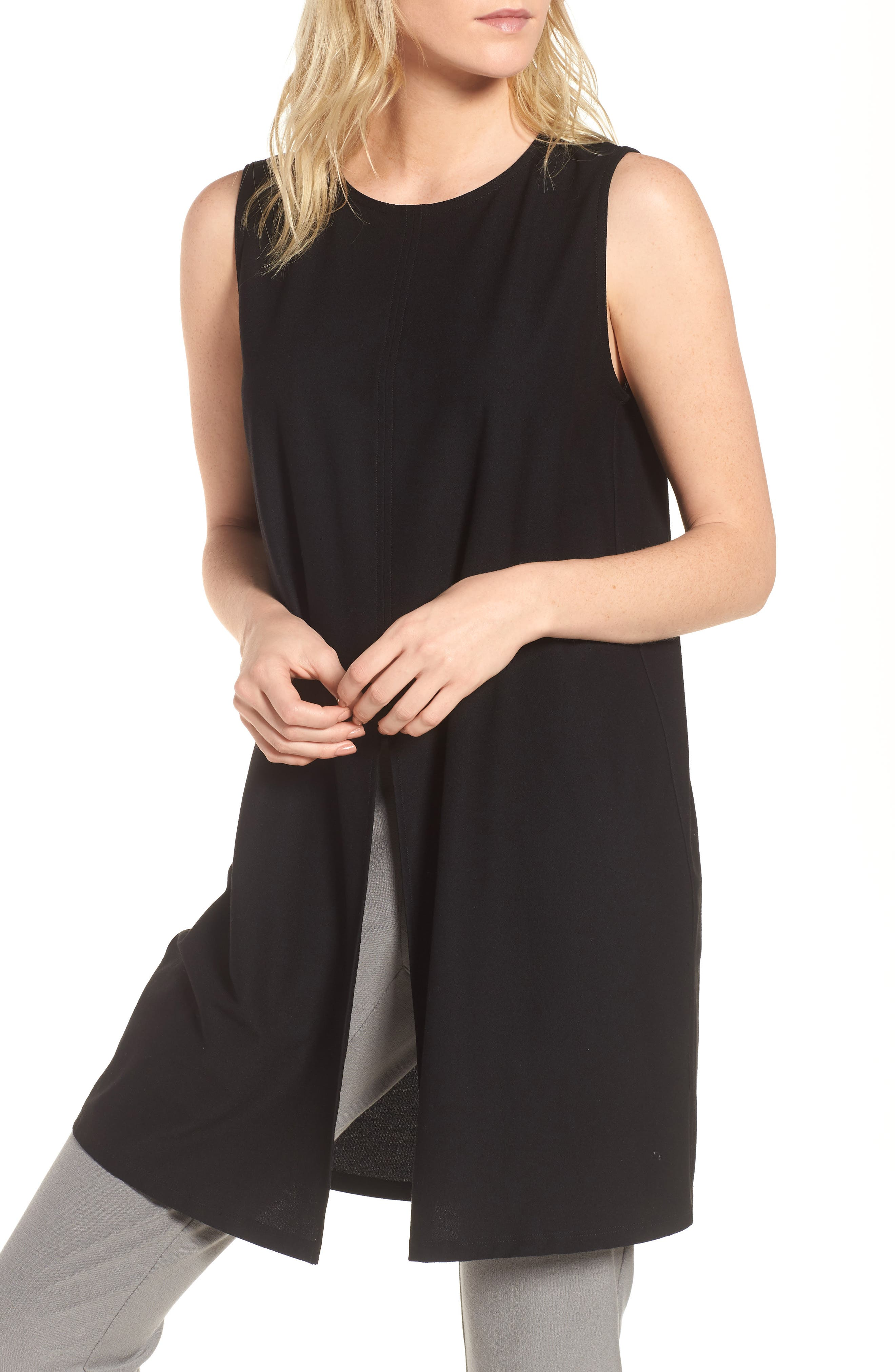 Slit Front Jersey Tunic,                         Main,                         color, Black